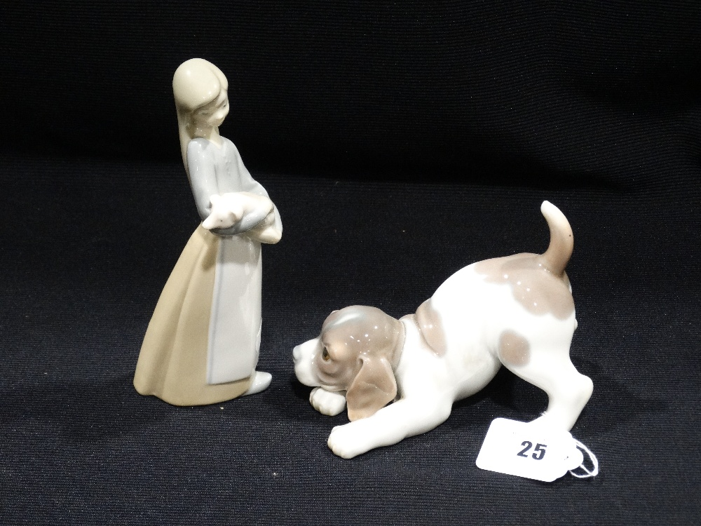 Lot 25 - A Lladro Porcelain Puppy, Together With A Lladro Girl & Piglet