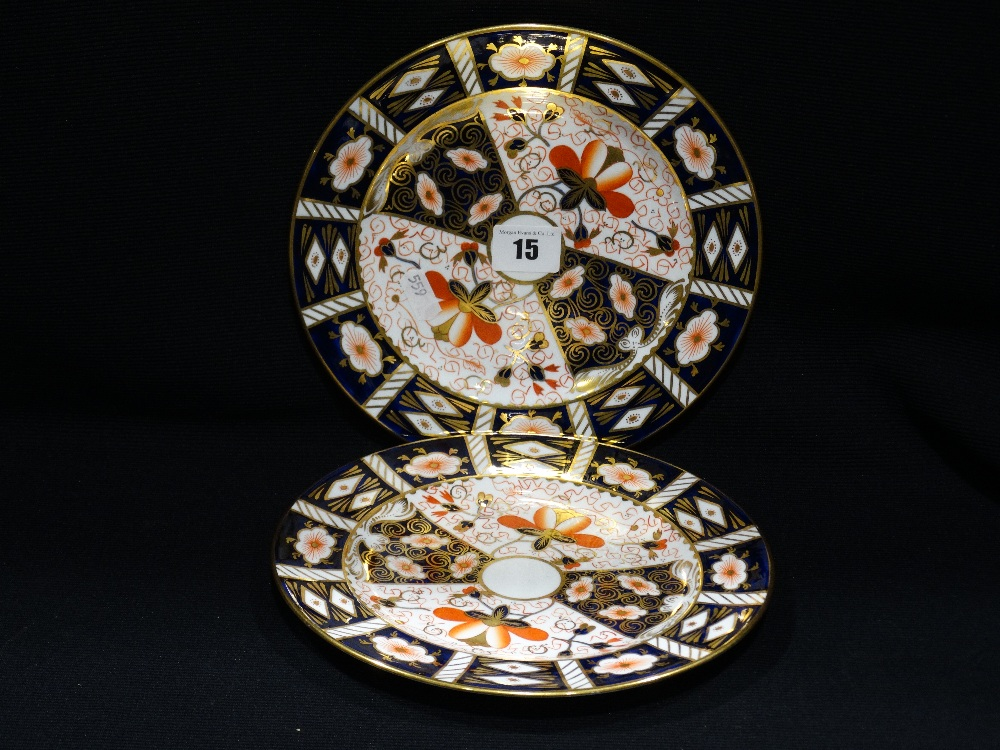 "Lot 15 - Six Circular Royal Crown Derby Old Imari Pattern Side Plates, 8.5"" Dia"