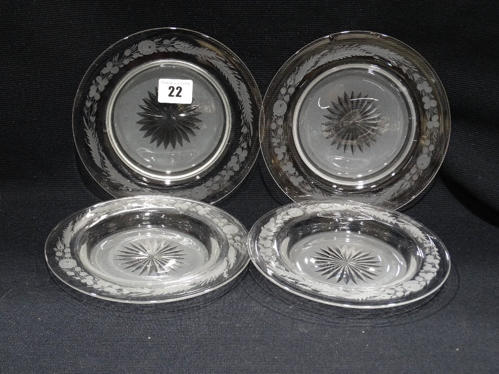 "Lot 22 - Eight Matching Circular Etched Glass Dessert Plates, 7"" Dia"