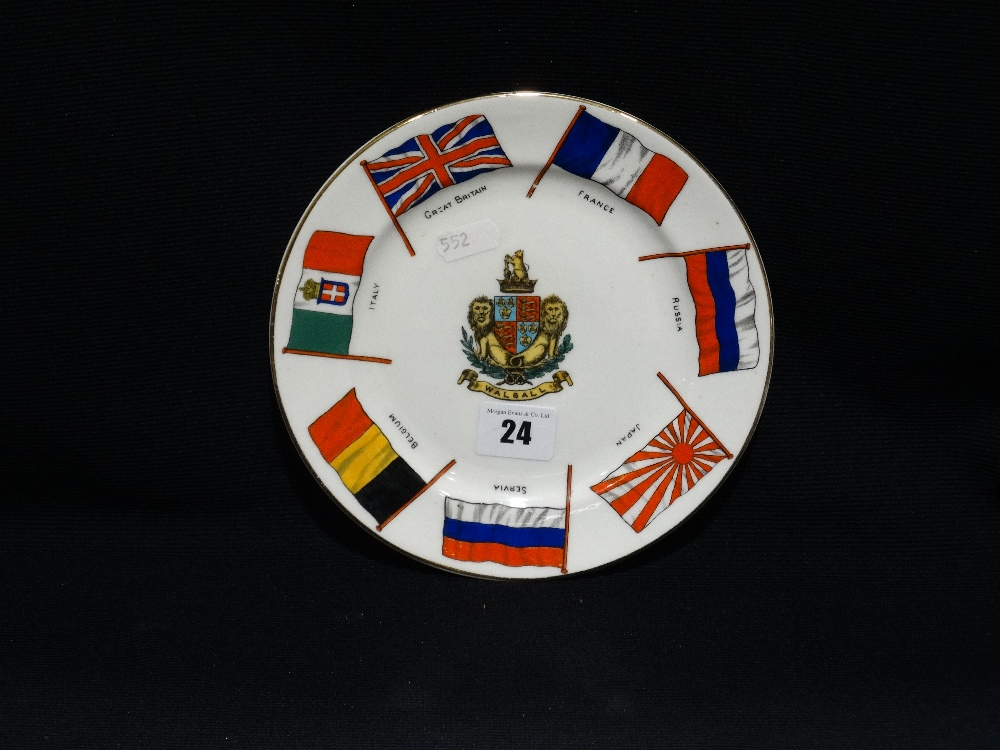 Lot 24 - A W.H Goss Circular 1st World War Flag Plate With Arms Of Walsall