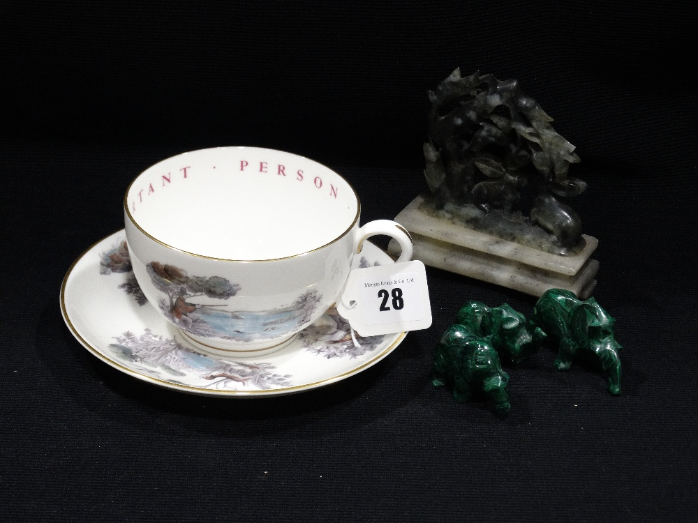 Lot 28 - A Royal Worcester VIP Breakfast Cup & Saucer, Together With A Soapstone Carving Etc