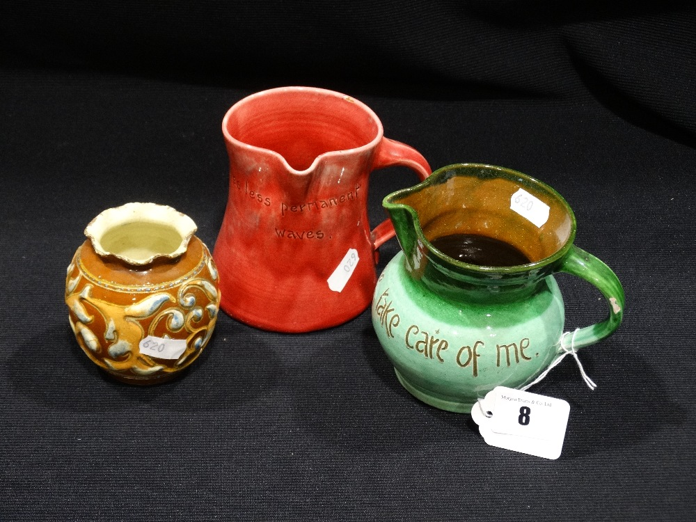 Lot 8 - Three Brannam Ware Jugs & Vase, Two With Text