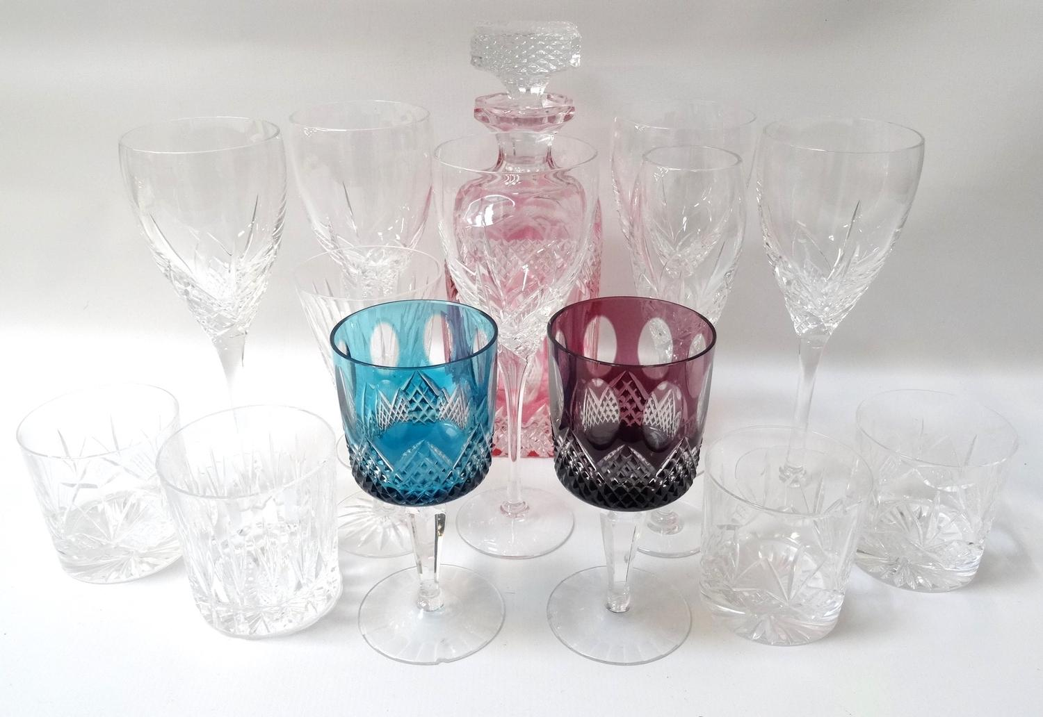 Lot 49 - FIVE EDINBURGH CRYSTAL WINE GLASSES champagne flute and three whisky tumblers, a conical Waterford