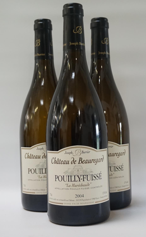 """Lot 49 - CHATEAU DE BEAUREGARD POUILLY-FUISSE """"LA MARECHAUDE"""" 2004 VINTAGE Three bottles of classic French"""