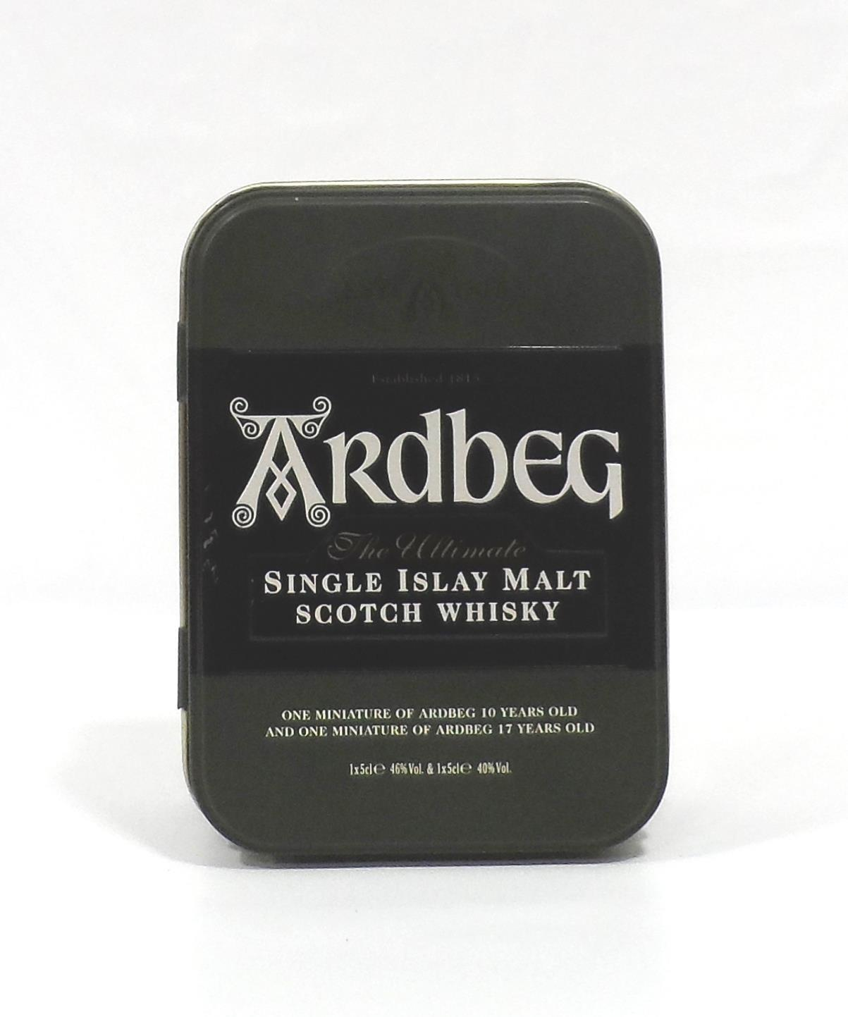 Lot 26 - ARDBEG MINIATURE TIN A great wee tin with two miniatures: one Ardbeg 17 Year Old Single Malt