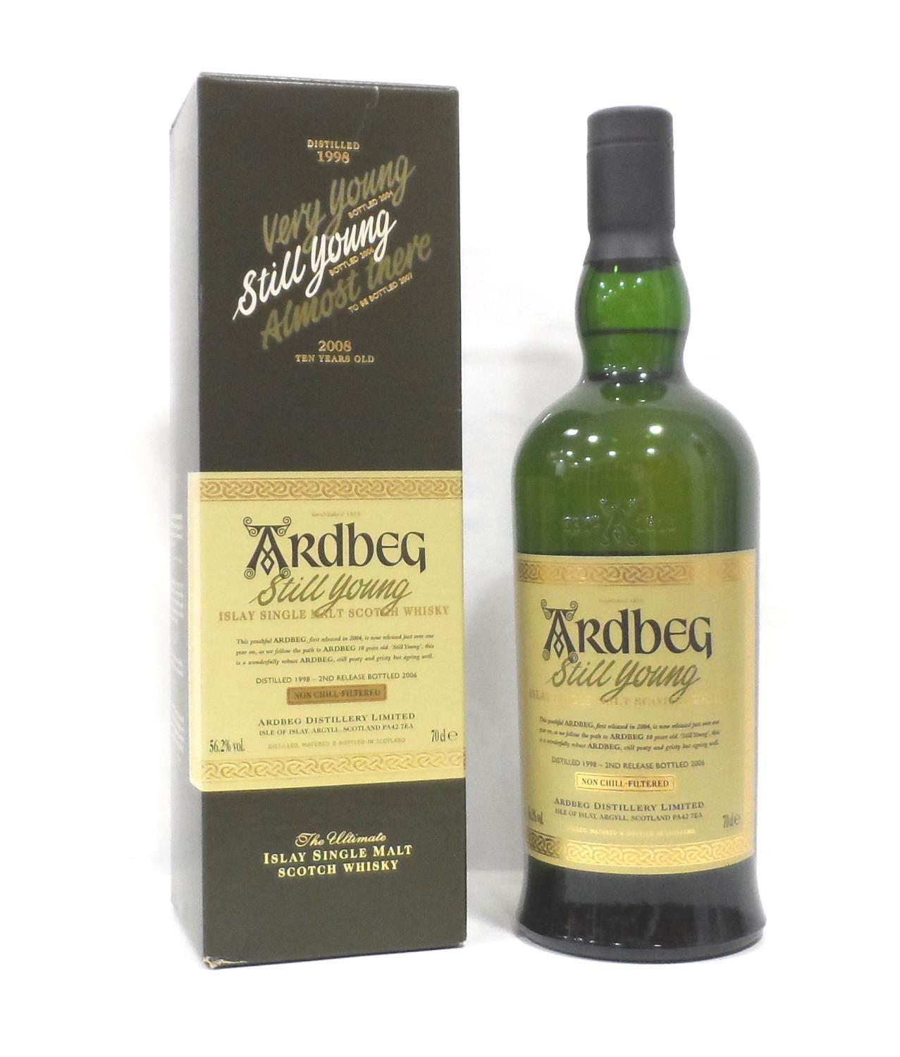Lot 19 - ARDBEG STILL YOUNG Whilst waiting for the spirit to mature at the re-opened Ardbeg Distillery they