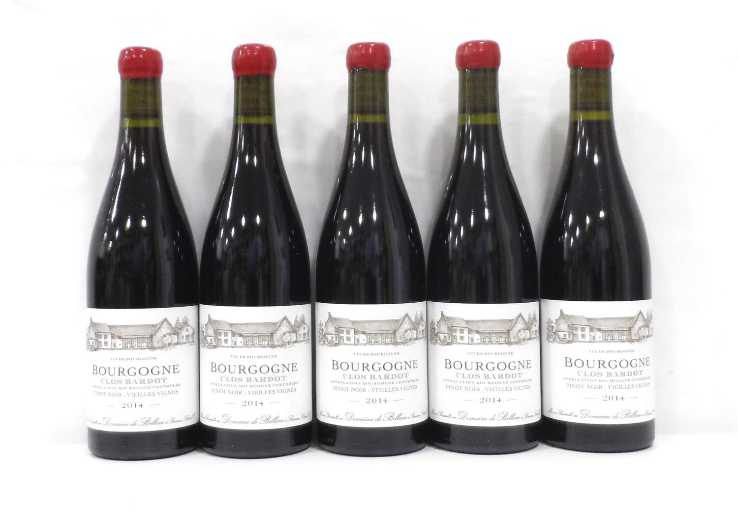 "Lot 43 - CLOS BARDOT BOURGOGNE PINOT NOIR - VIEILLES VIGNES 2014 Five bottles of the Domaine de Bellene ""Clos"
