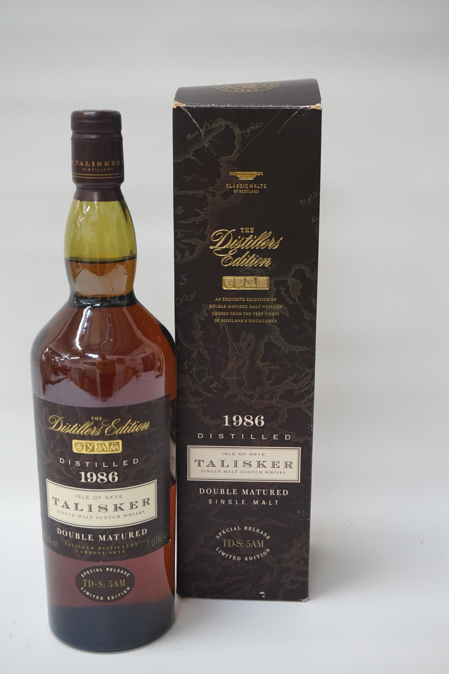 Lot 27 - TALISKER DISTILLERS EDITION 1986 This bottle highlights how finishing a whisky in particular casks