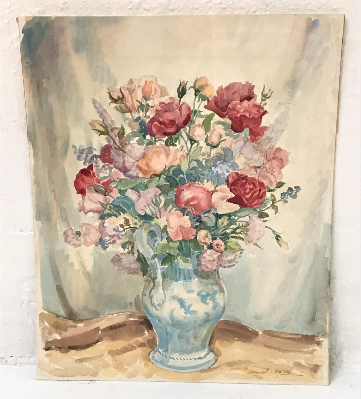 Lot 382 - ALEXANDER S. BURNS Still Life Vase of Flowers, watercolour, unframed, 70.5cm x 57cm