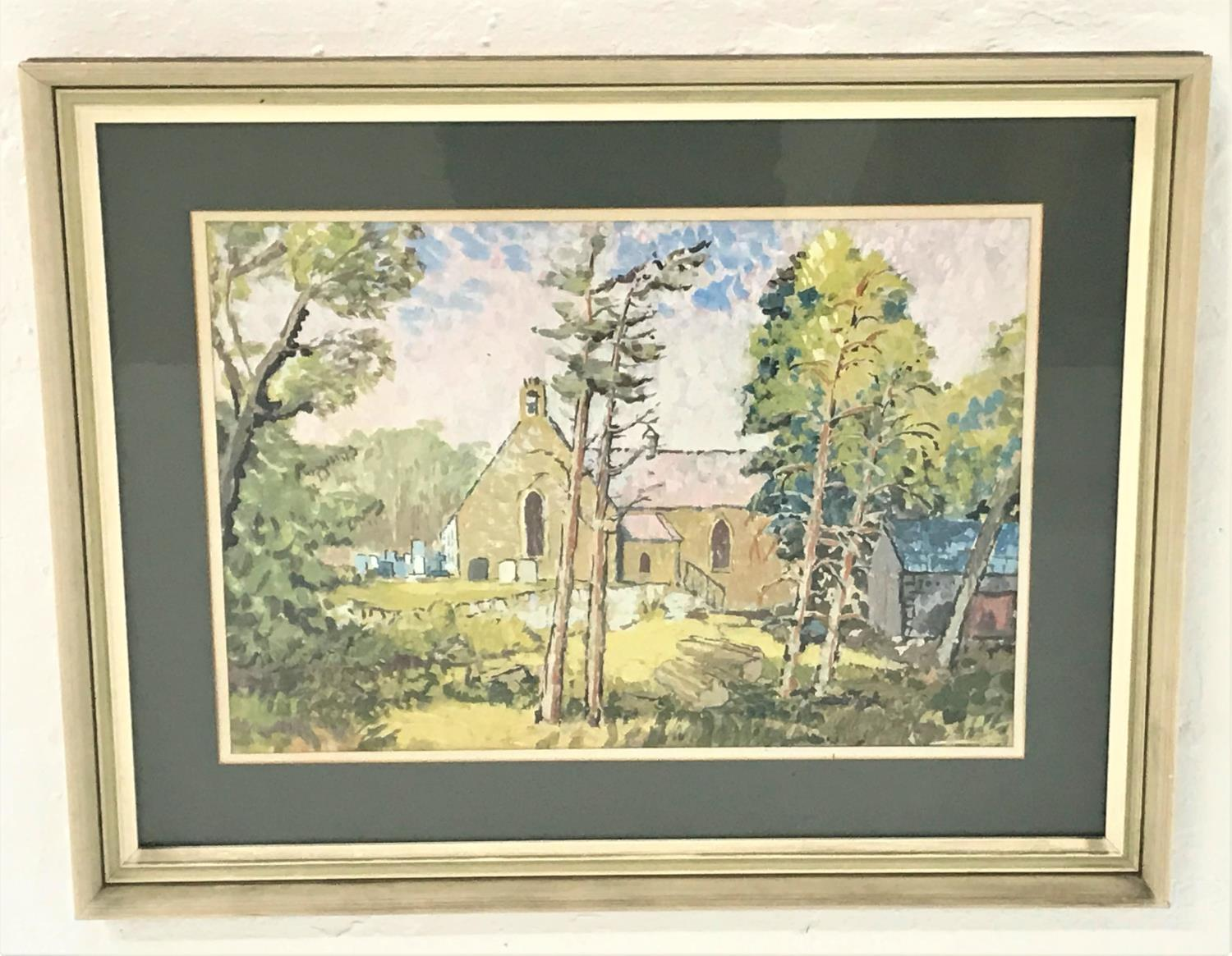 Lot 391 - AFTER NORMAN YOUNG Parish Church, watercolour, 34.5cm x 50.5cm