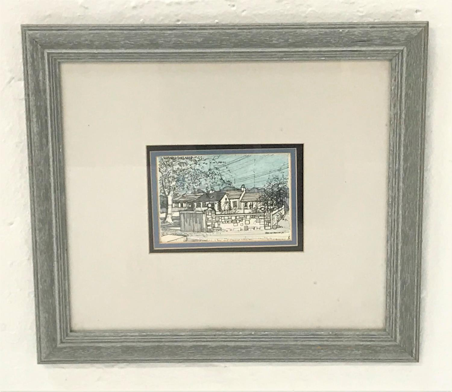 Lot 398 - ALAN McDONALD Langside, Fenwick Ayrshire, watercolour and pen, signed and dated '93, 10cm x 15cm