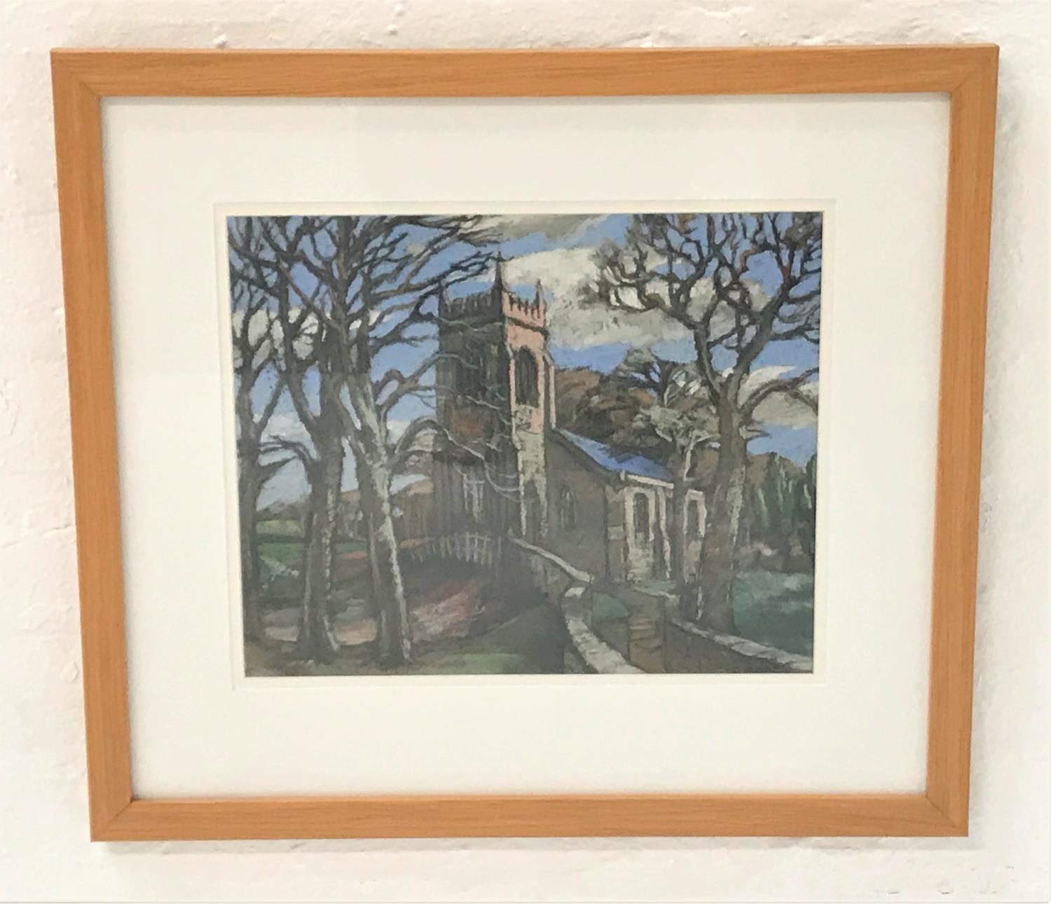 Lot 383 - NORMAN YOUNG Parish Church, pastel, signed, 29cm x 59.5cm