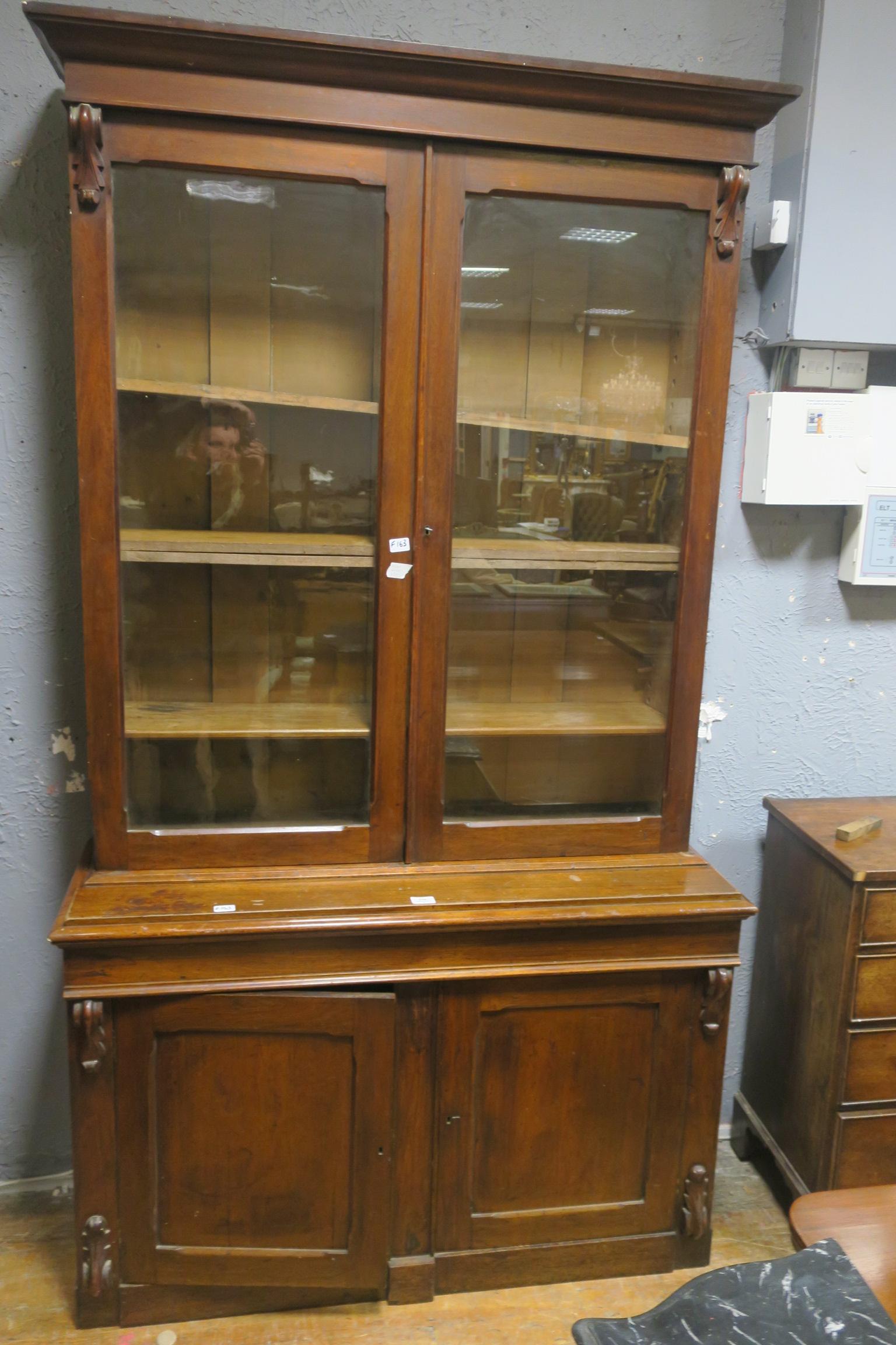 Lot 505 - A 19th CENTURY MAHOGANY LIBRARY BOOKCASE,