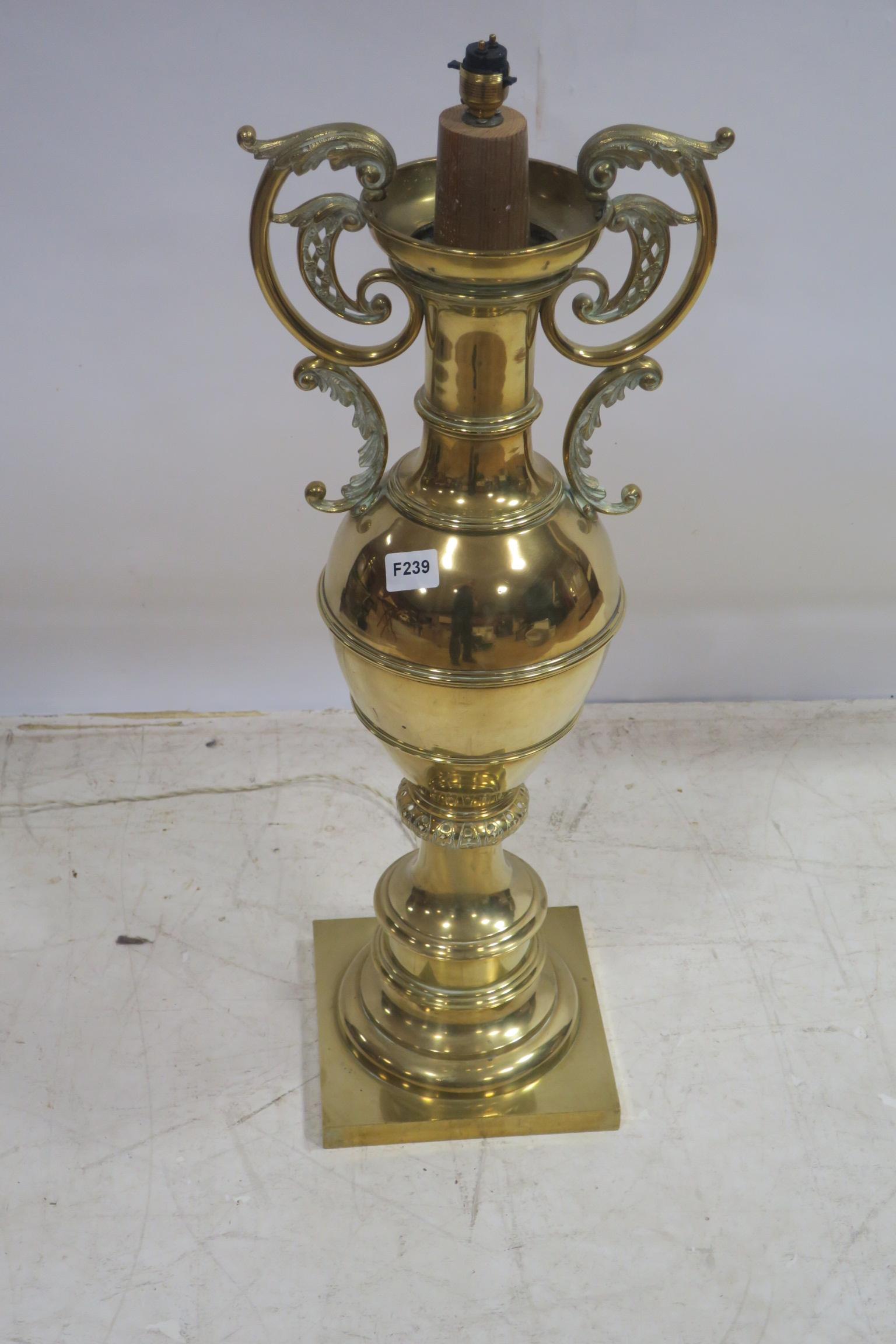 Lot 495 - A FINE BRASS TABLE LAMP,