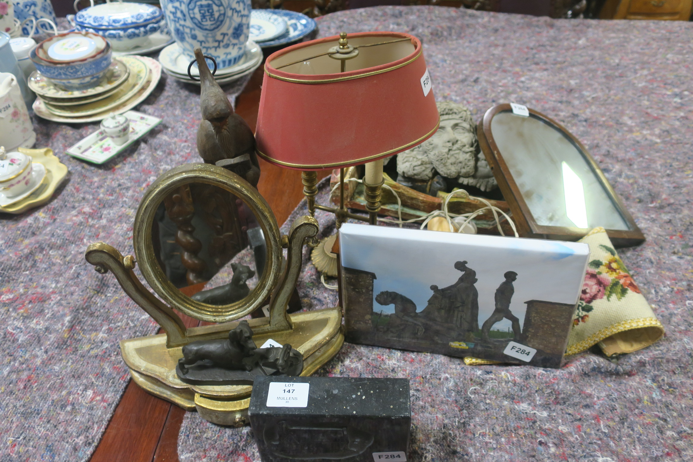 Lot 147 - A MISCELLANEOUS COLLECTION, to include a brass two branch table lamp, a collection of pictures,