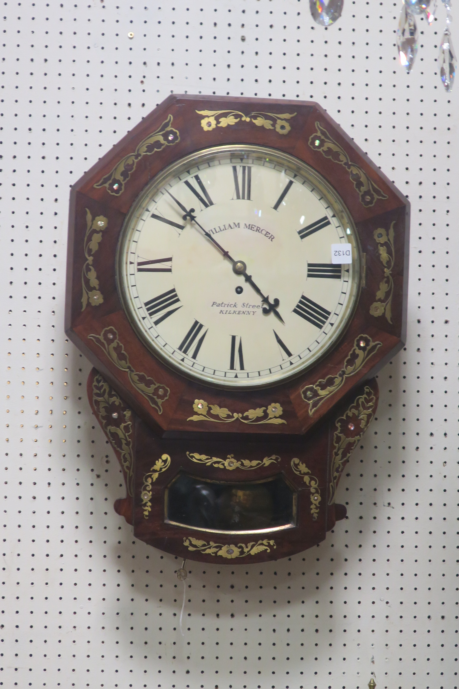 Lot 657 - A VERY FINE REGENCY MAHOGANY AND BRASS INLAID WALL CLOCK,