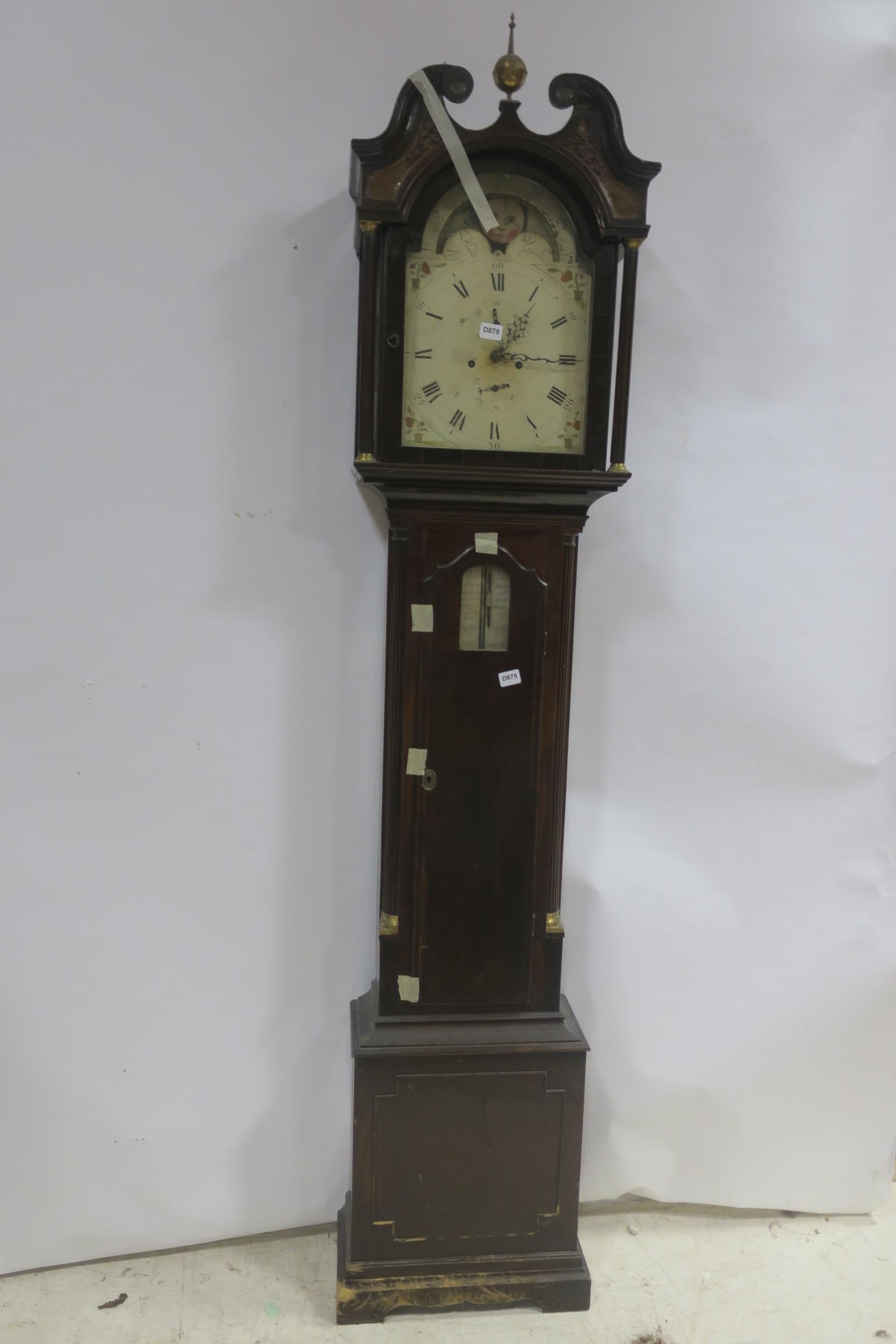 Lot 229 - A GEORGIAN MAHOGANY LONG CASE CLOCK,
