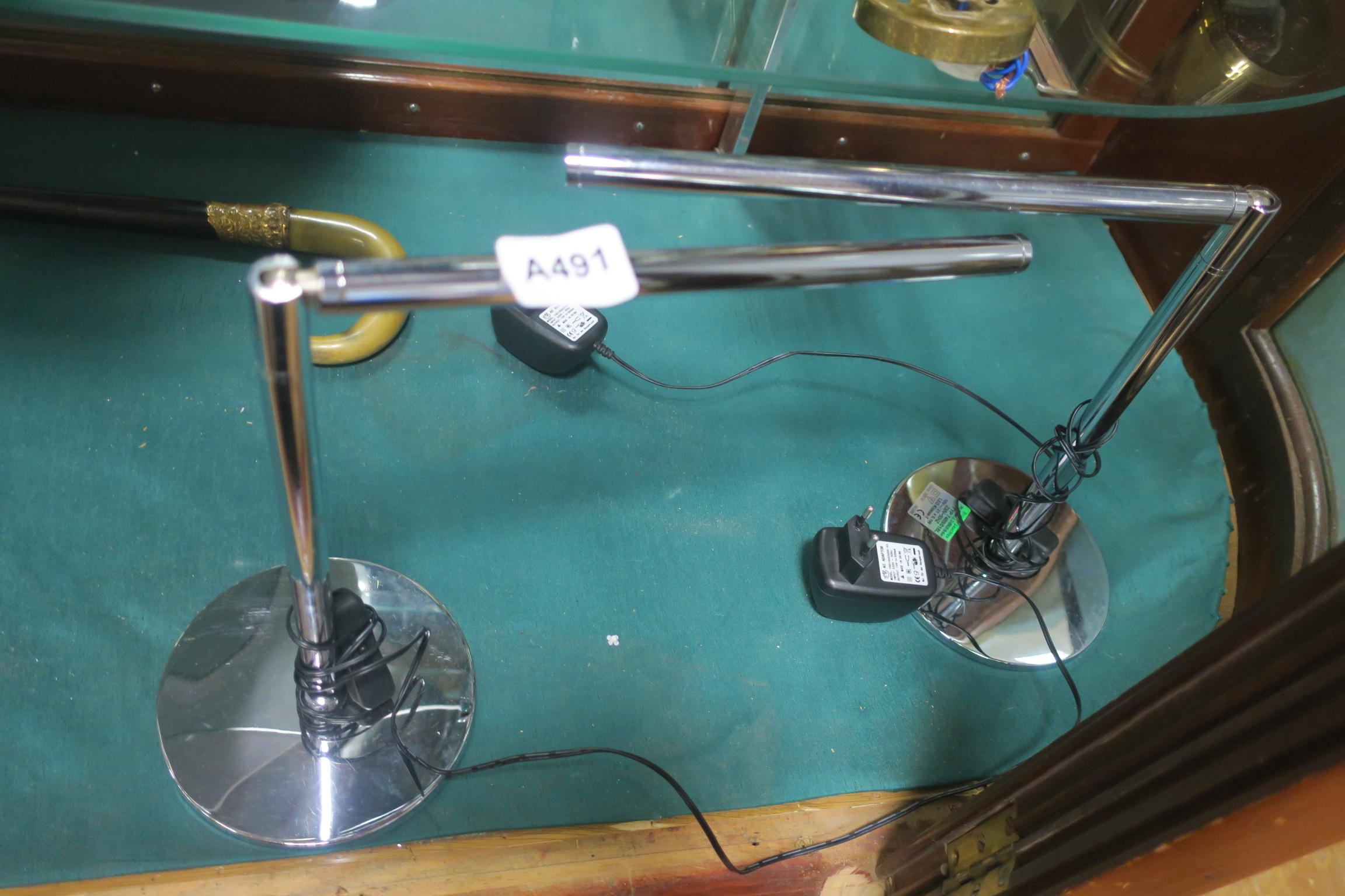 Lot 418 - A PAIR OF BRILONER DESIGN CHROME DESK LAMPS,
