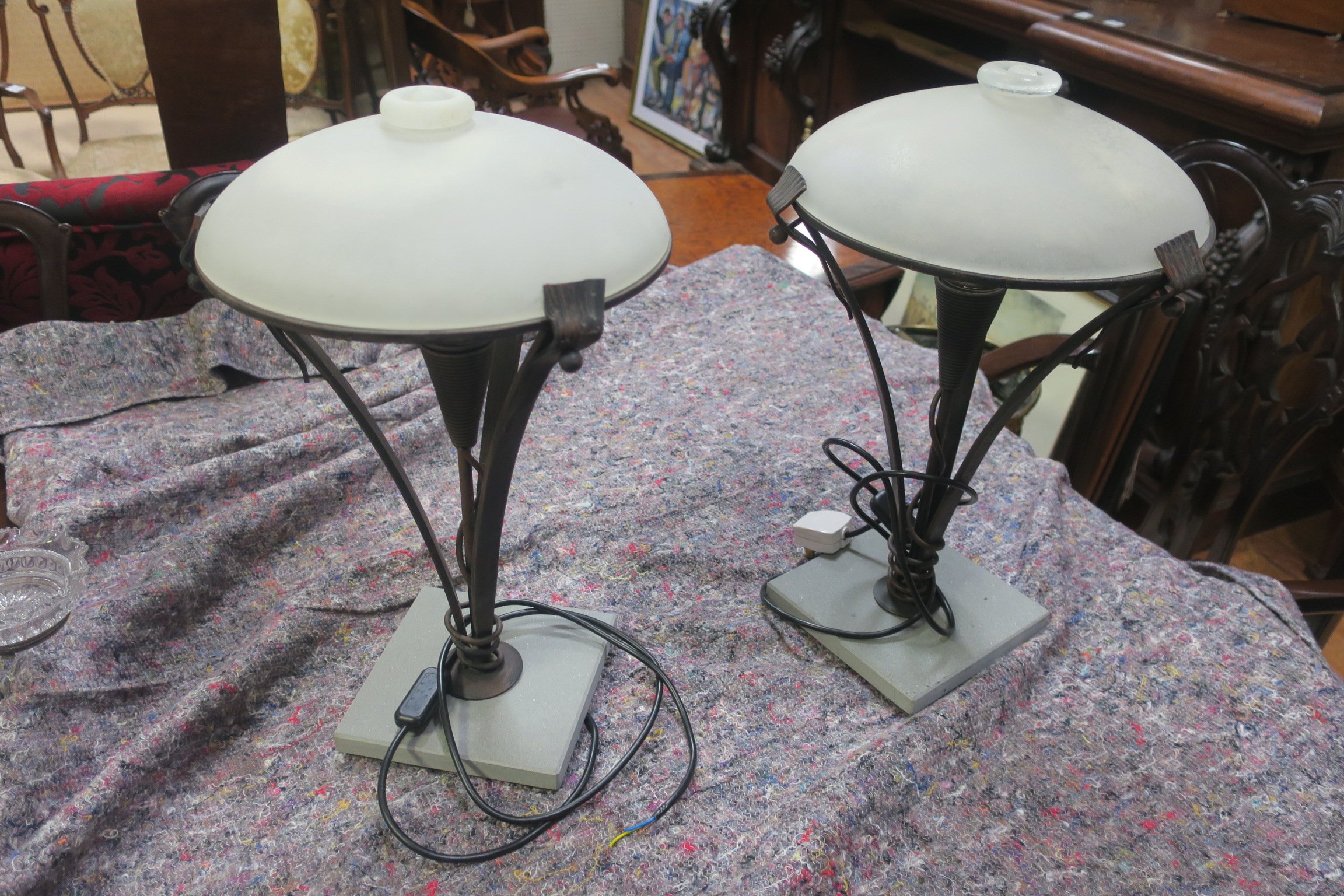 Lot 326 - A PAIR OF METAL AND OPAQUE GLASS TABLE LAMPS,