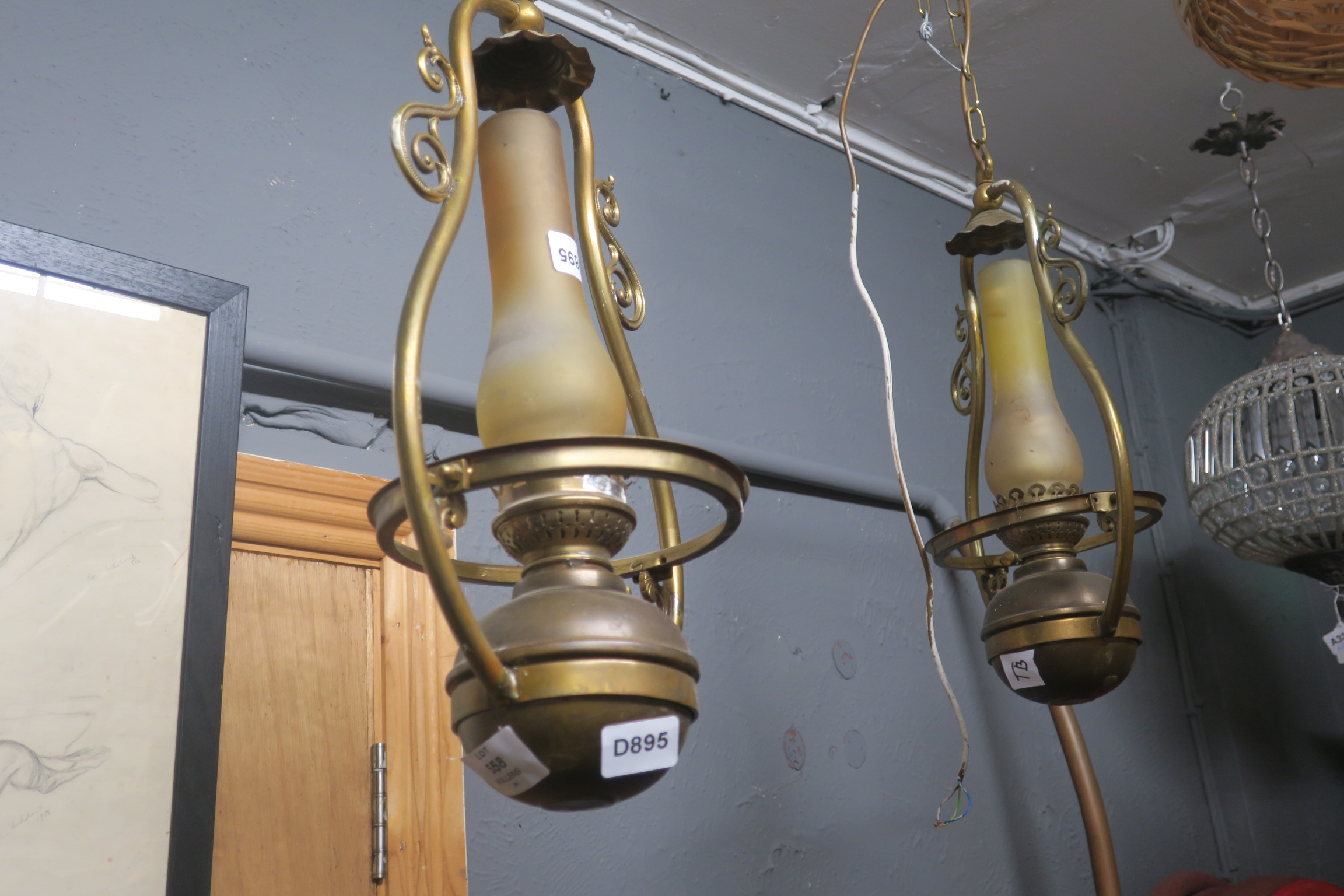 Lot 655 - A PAIR OF BRASS HANGING CENTRE LIGHTS,