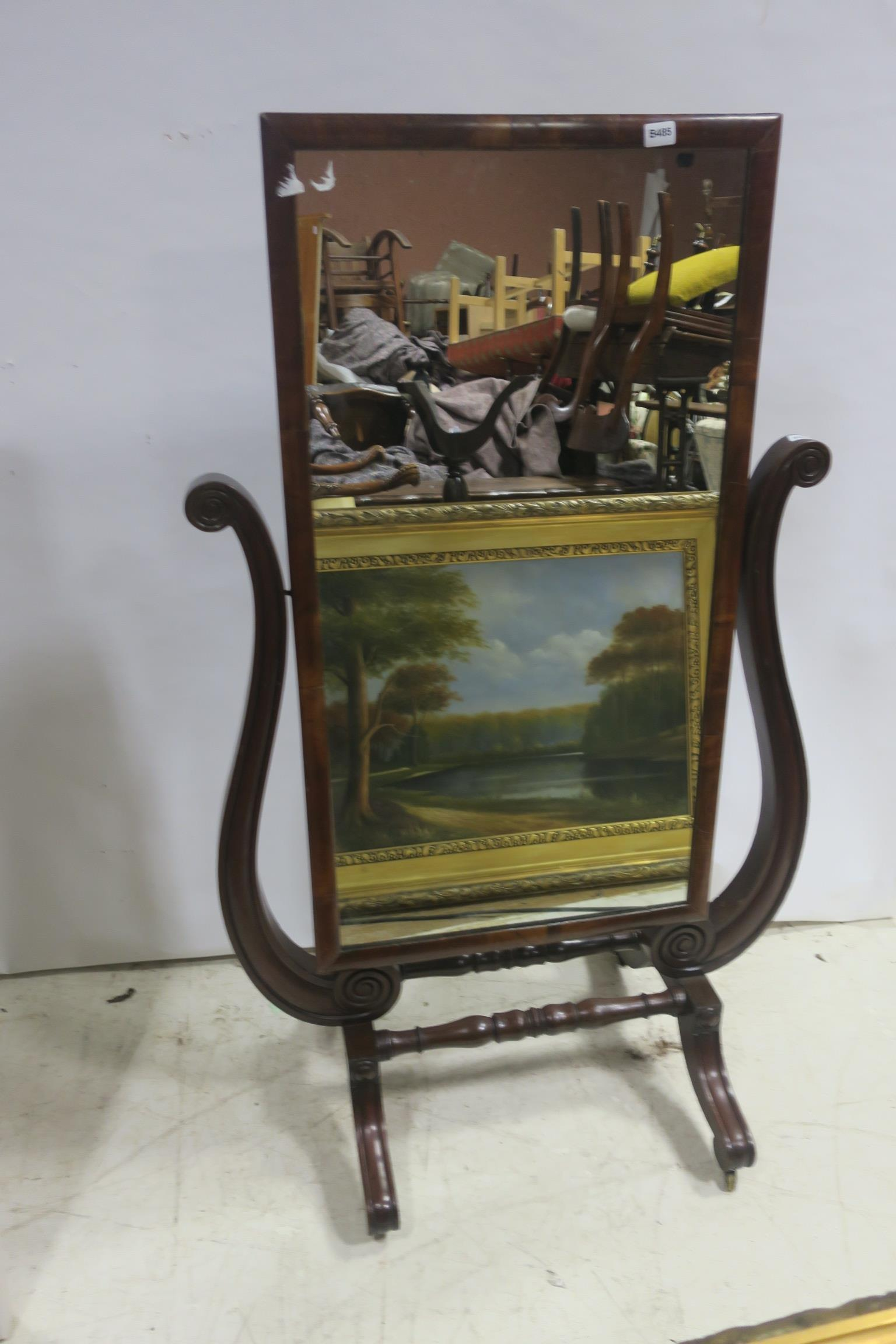 Lot 234 - A 19TH CENTURY MAHOGANY CHEVAL MIRROR the rectangular plate with a moulded frame flanked by scroll