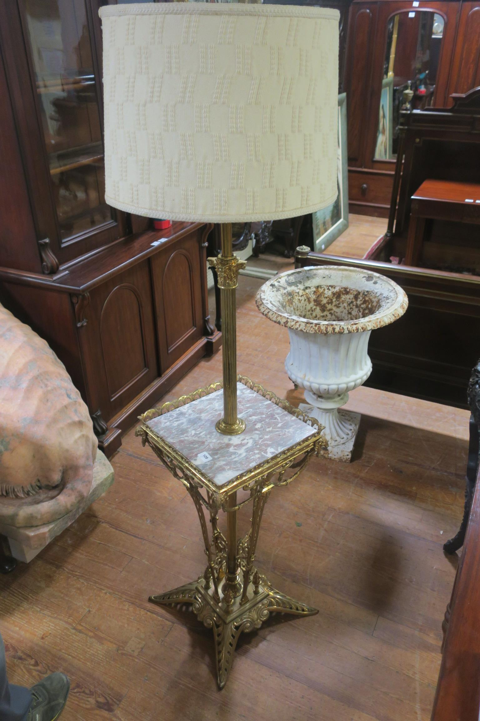 Lot 193 - A FINE 19th CENTURY BRASS AND MARBLE STANDARD LAMP,