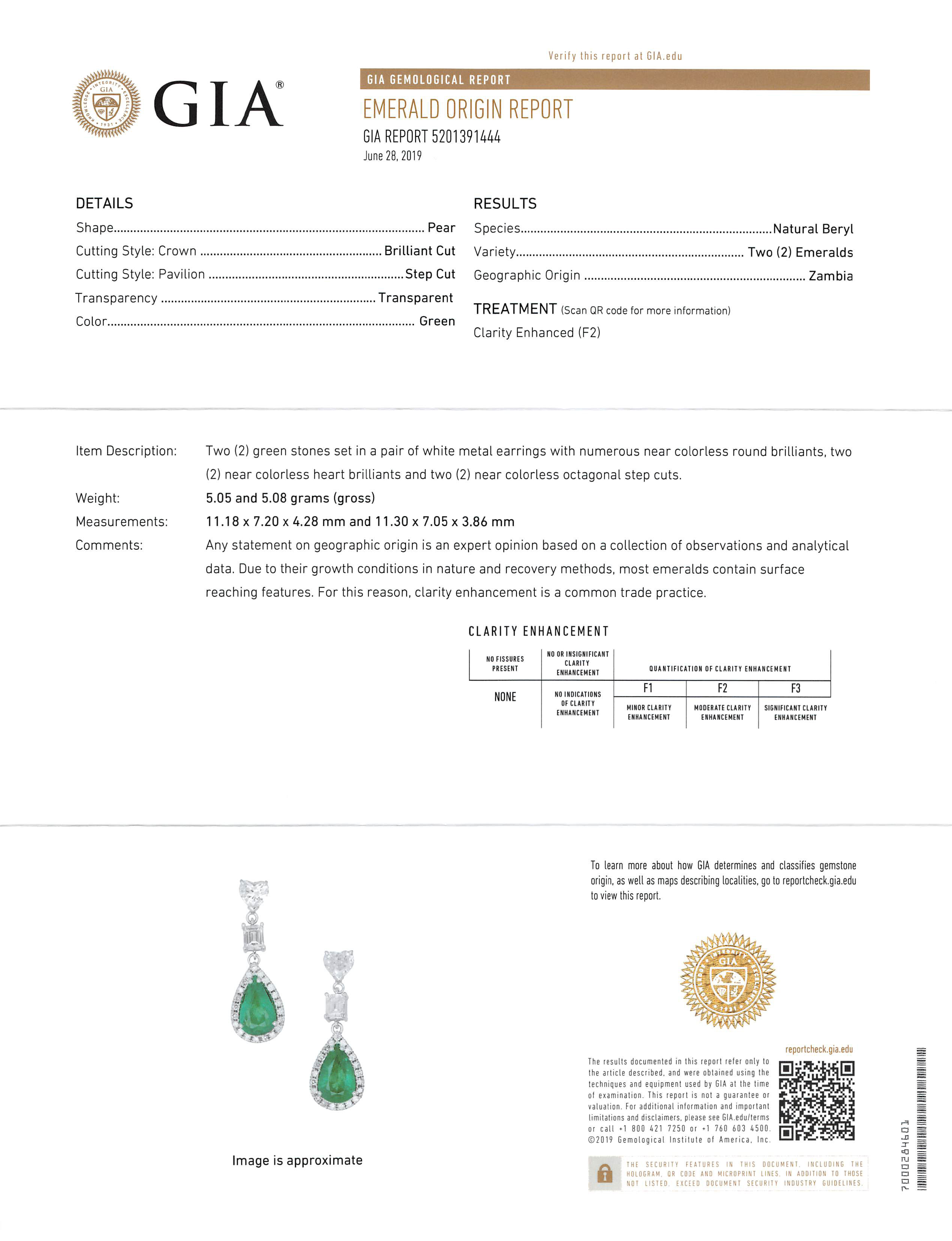Lot 577 - Pair 18 kt. White Gold, Emerald and Diamond Dangle Earrings , set with 2 pear shaped emeralds, total