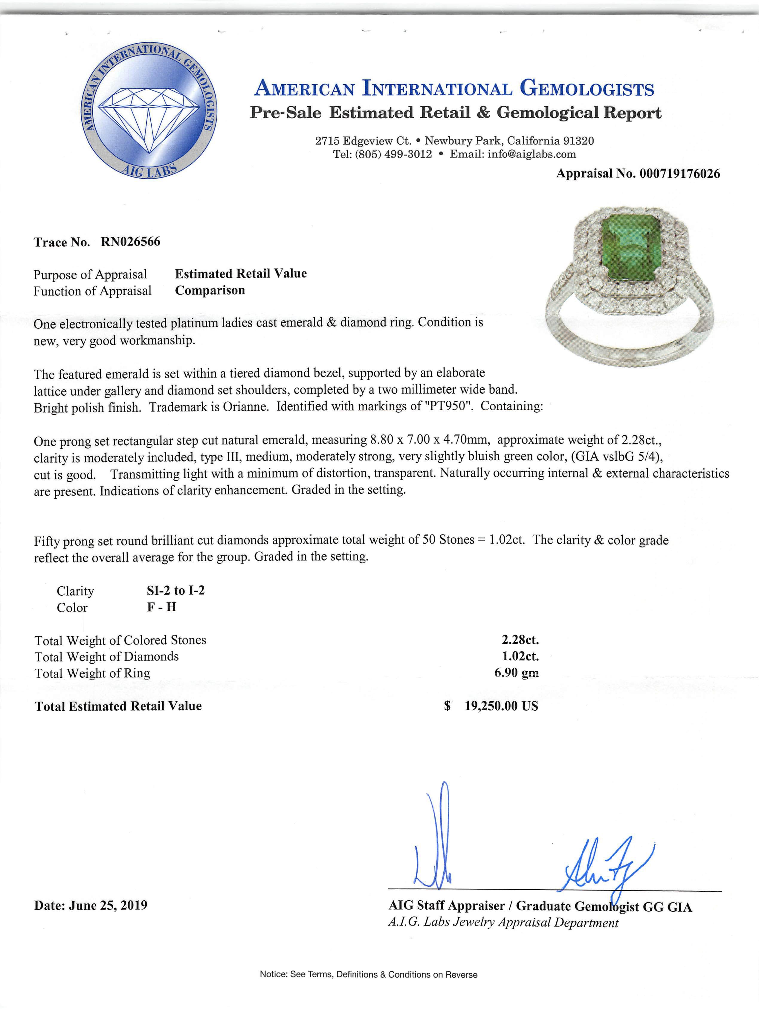 Lot 584 - Platinum, Emerald and Diamond Ring , prong set rectangular step cut natural emerald, 8.80 x 7.00 x