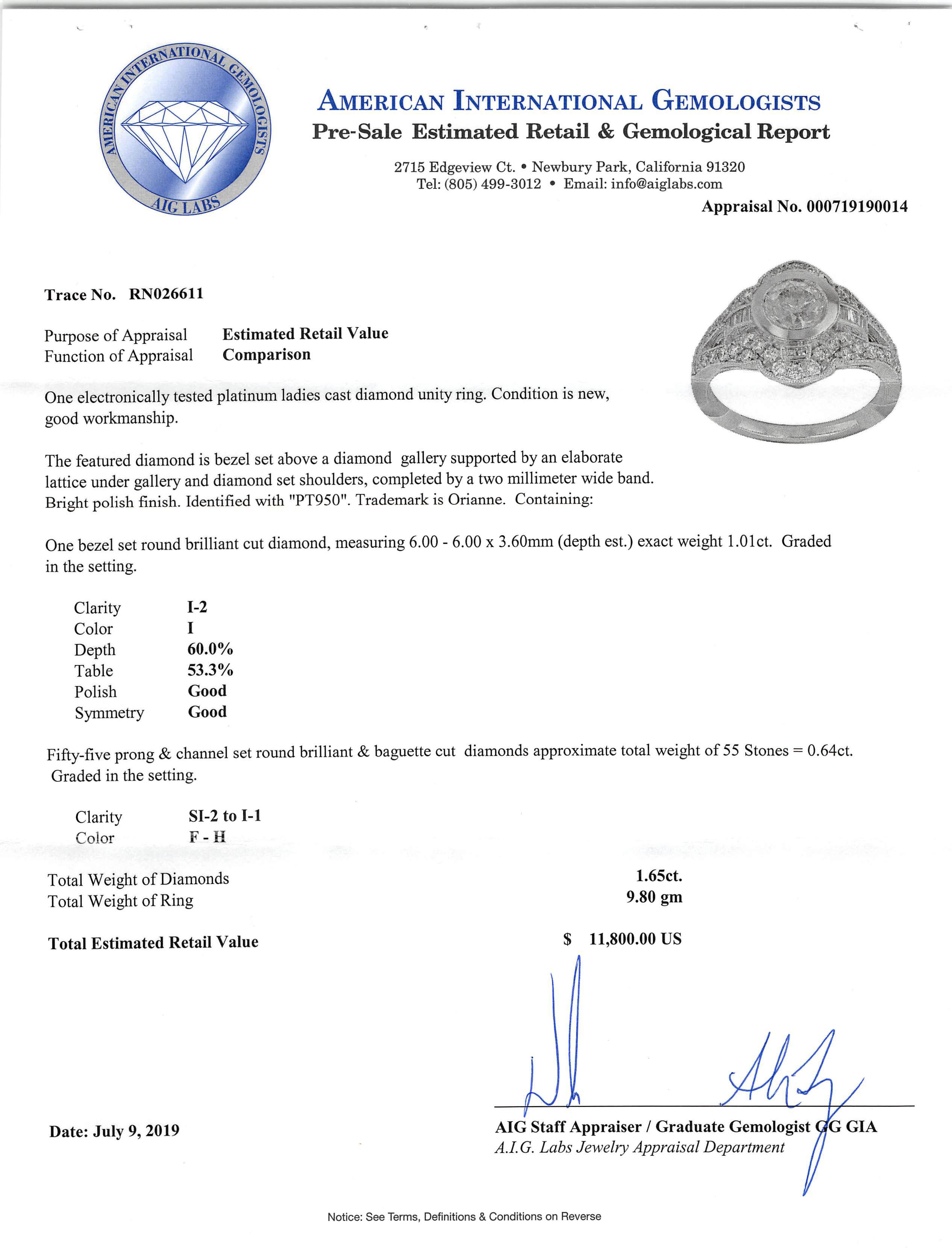 Lot 606 - Platinum and Diamond Ring , bezel set round brilliant cut diamond, exact wt. 1.01 cts., I color, I-2