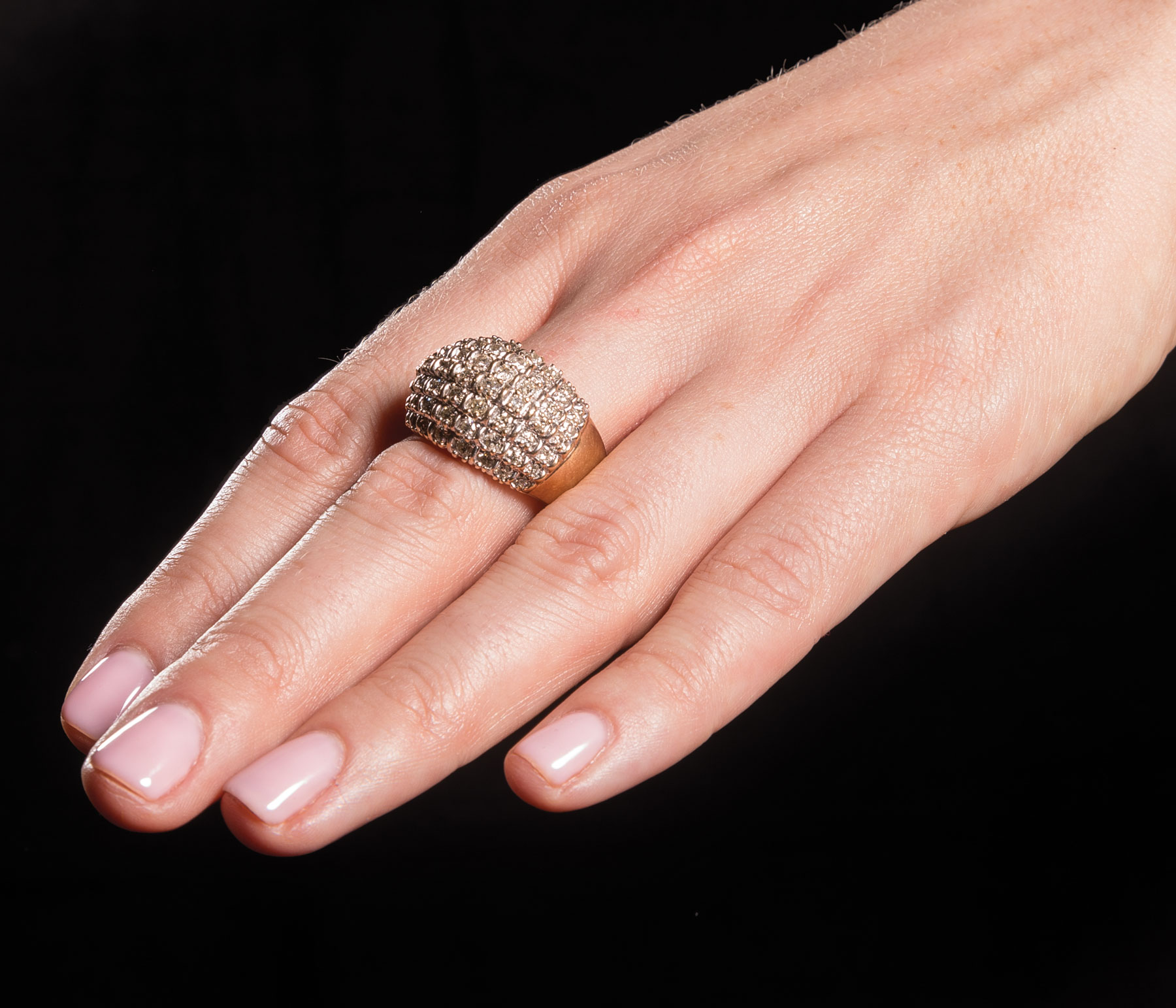 Lot 574 - 14 kt. Yellow Gold and Diamond Dome Ring , set with 56 round brilliant cut diamonds, total wt.