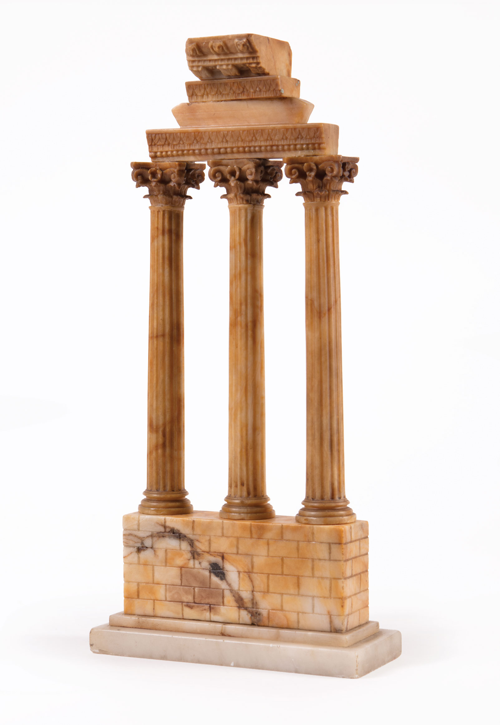 Lot 76 - Grand Tour Sienna Marble Model of the Temple of Castor and Pollux , onyx base, h. 13 in., w. 6 1/4