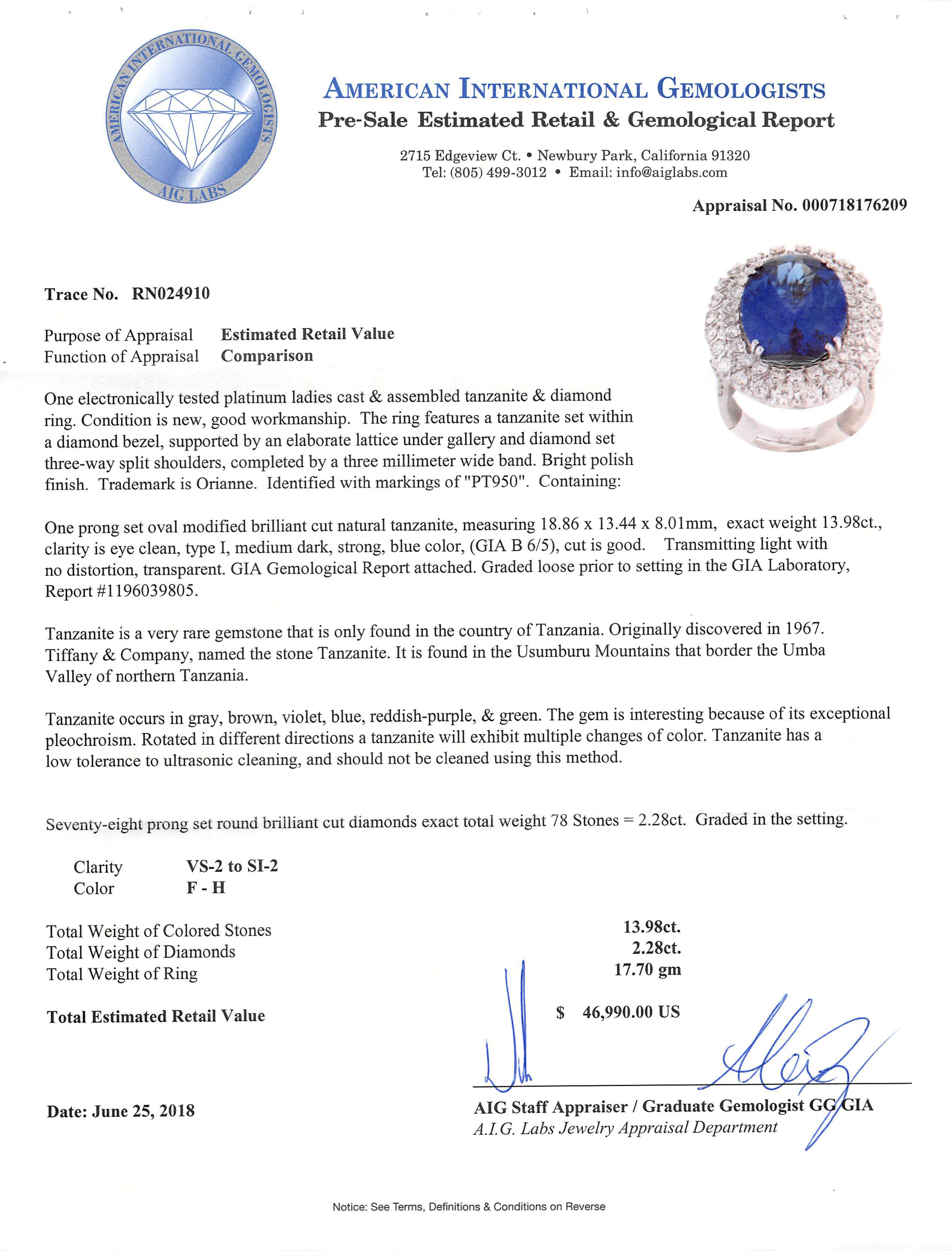 Lot 588 - Platinum, Tanzanite and Diamond Ring , prong set oval modified brilliant cut tanzanite, 18.86 x 13.