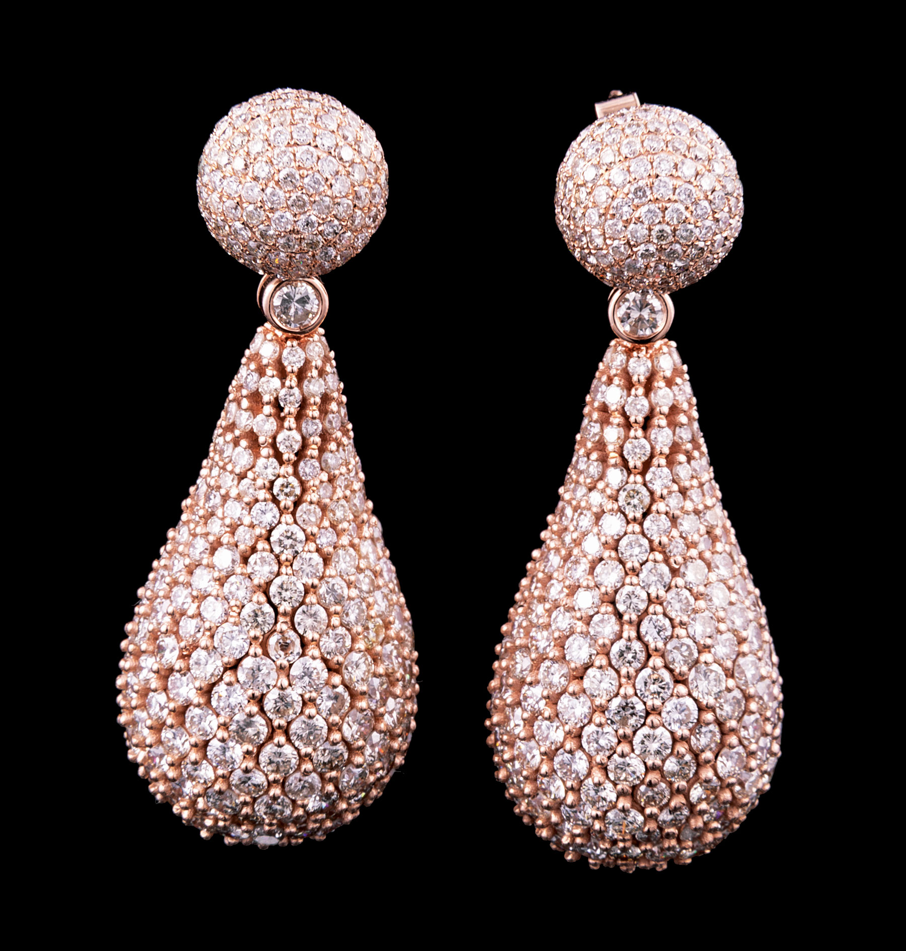 Lot 609 - Pair of 18 kt. Rose Gold and Diamond Earrings