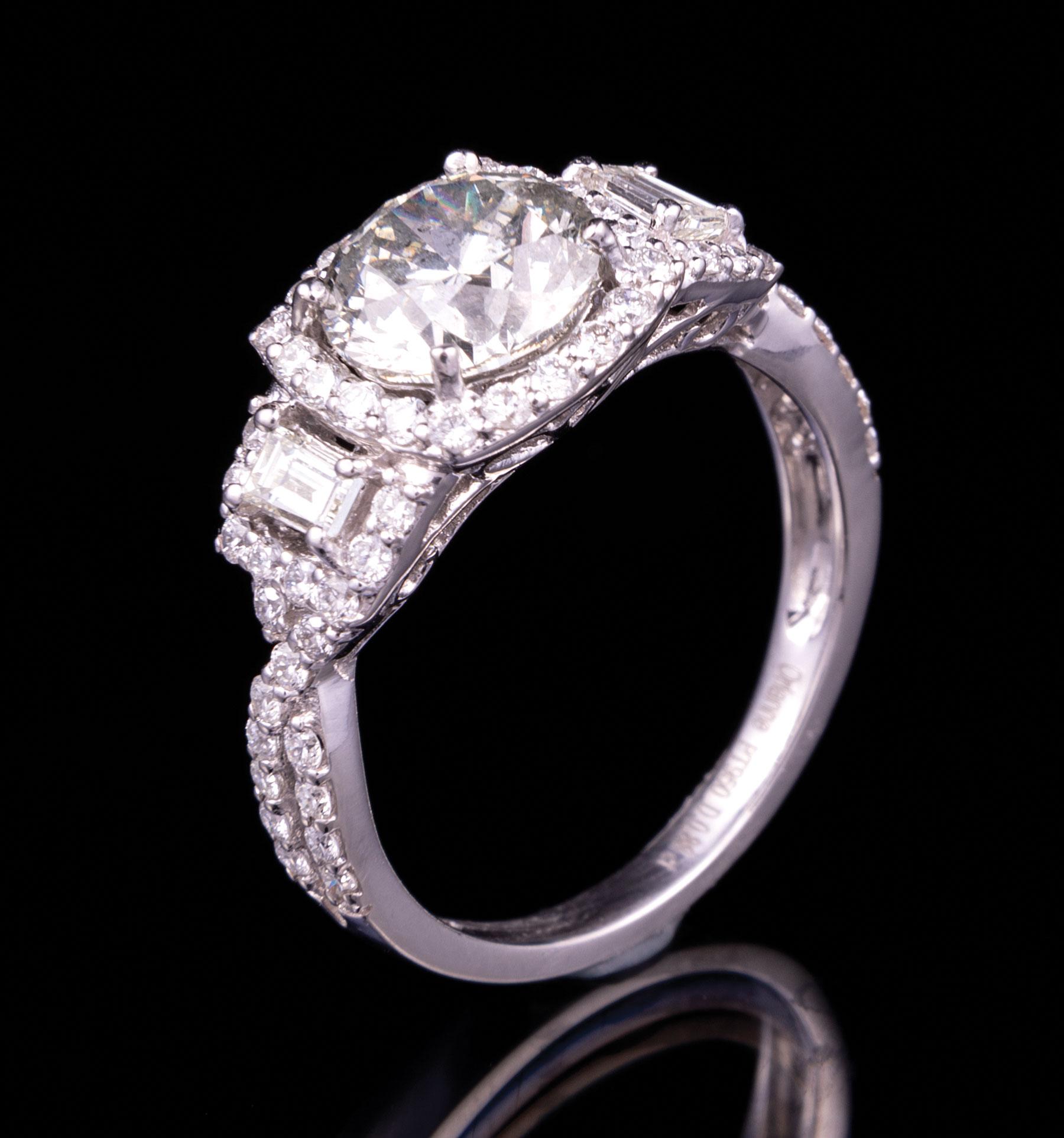 Lot 601 - Platinum and Diamond Ring , prong set round brilliant cut diamond, 7.80 - 7.80 x 5.00 mm, exact