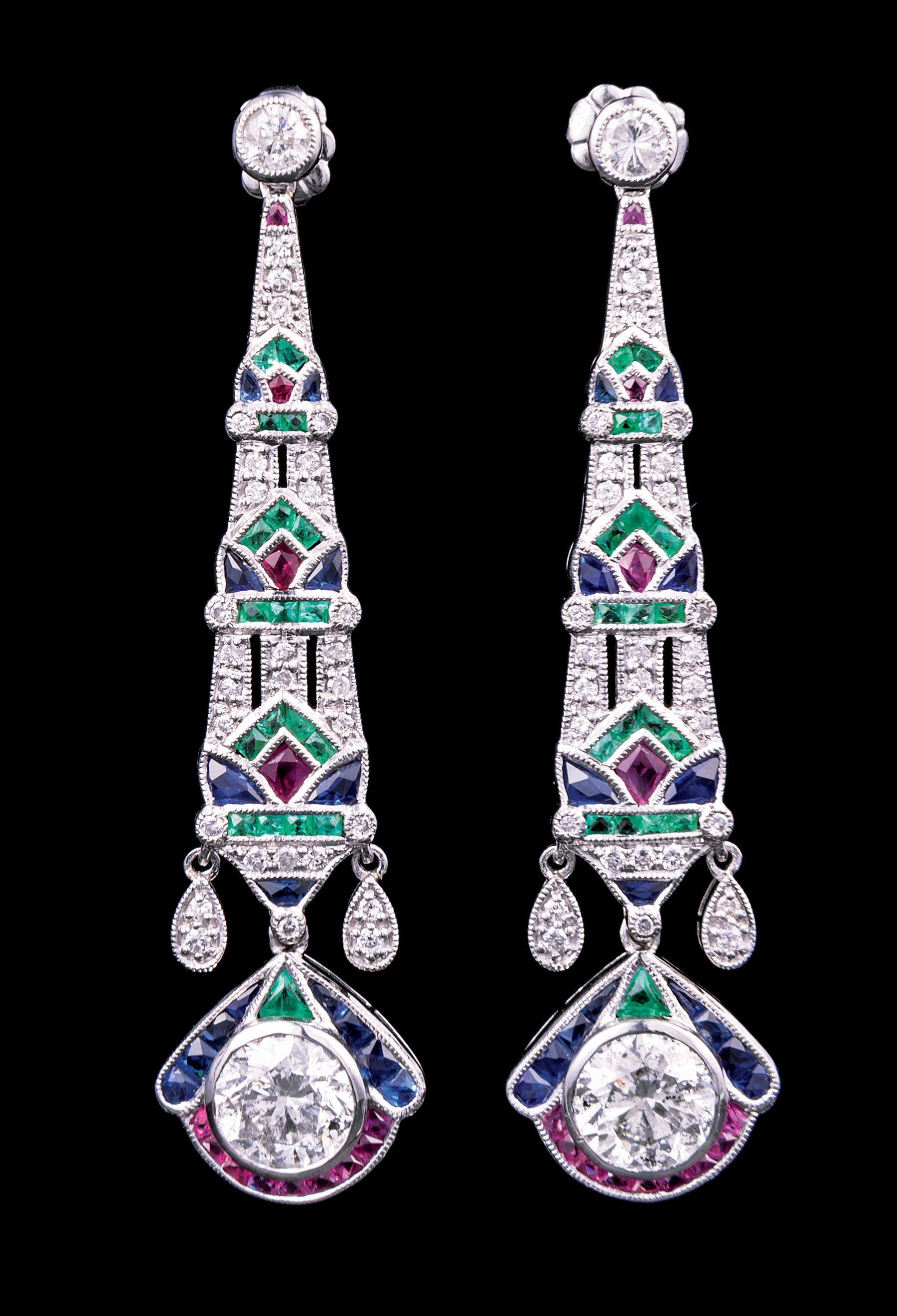 Lot 616 - Pair of Art Deco-Style Platinum, Ruby, Sapphire, Emerald and Diamond Dangle Earrings , 2 larger drop