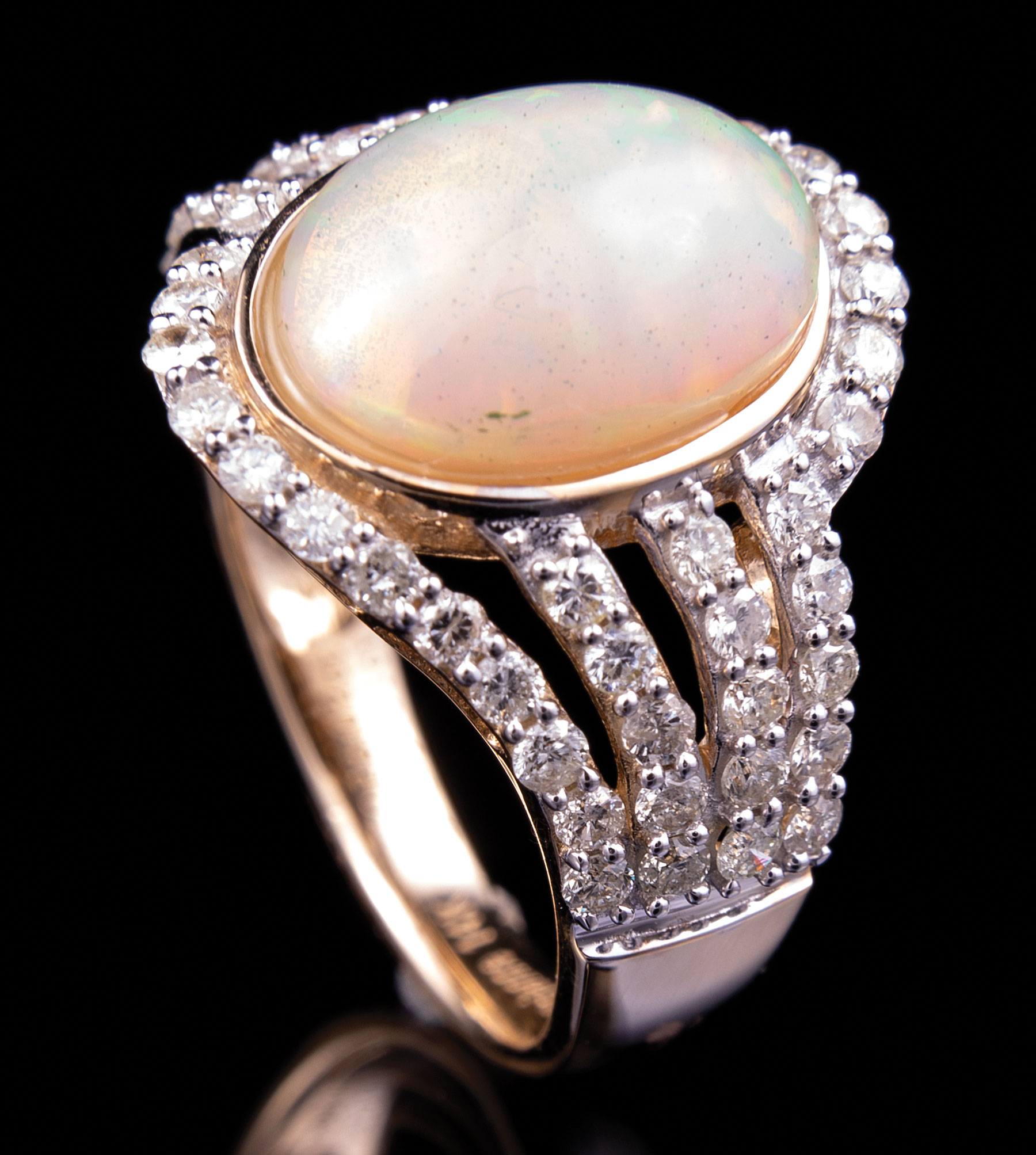Lot 625 - 14 kt. Yellow Gold, Opal and Diamond Ring , bezel set oval cabochon opal, wt. approx. 3.02 cts.;