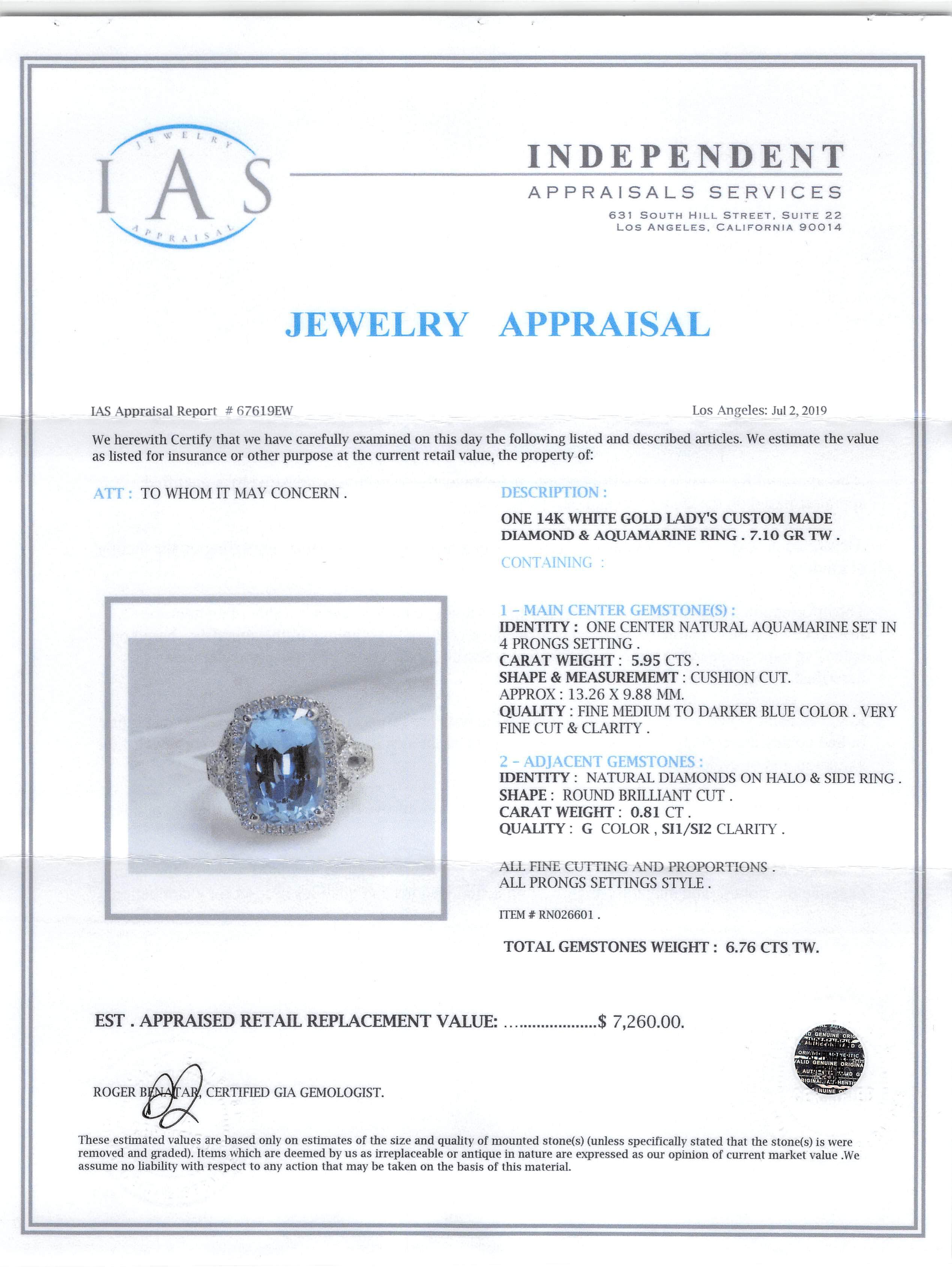 Lot 594 - 14 kt. White Gold, Aquamarine and Diamond Ring , prong set cushion cut aquamarine, approx. 5.95