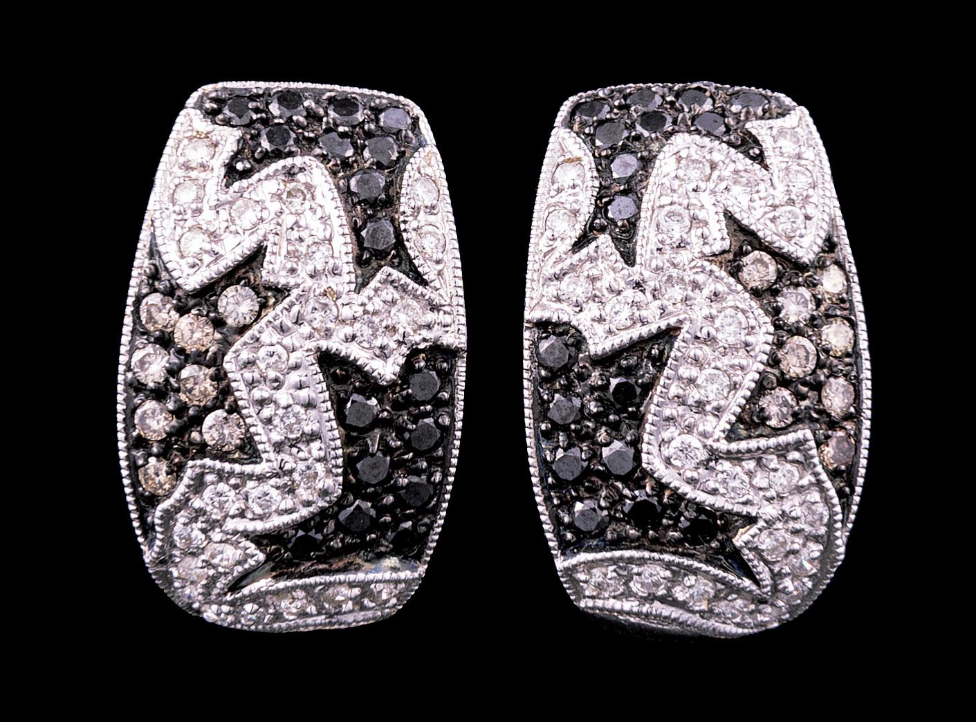 Lot 620 - Pair of 14 kt. White Gold, Diamond, Black Diamond, and Brown Diamond Earrings , 50 prong set round