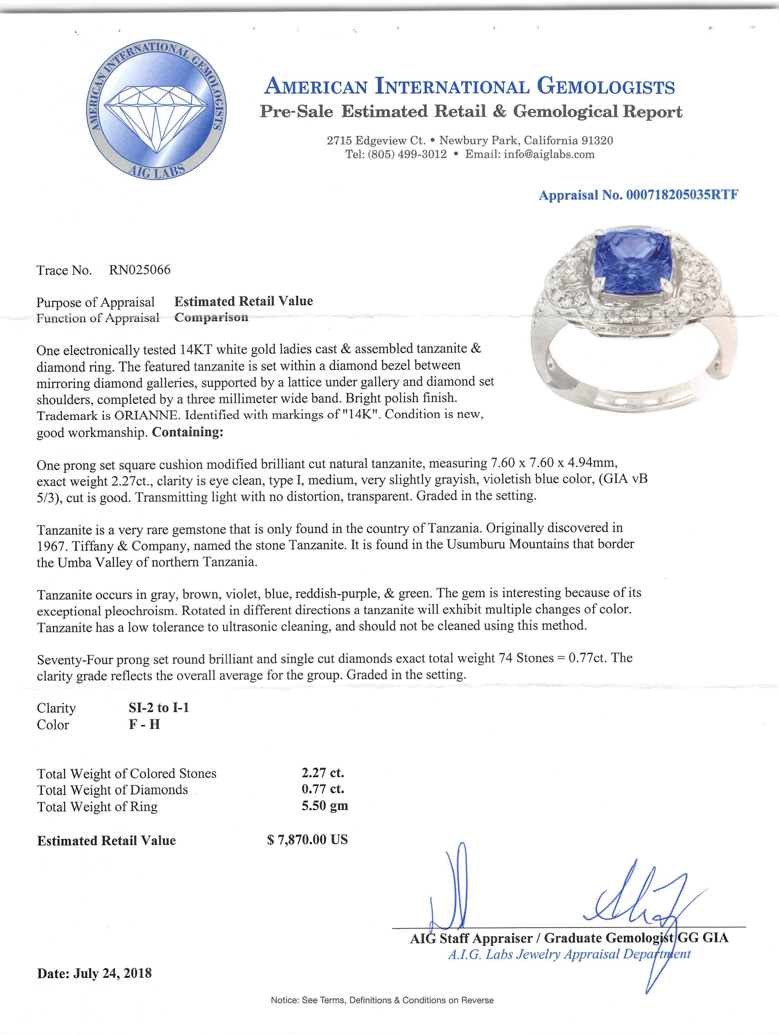 Lot 592 - 14 kt. White Gold, Tanzanite and Diamond Ring , prong set square cushion modified brilliant cut