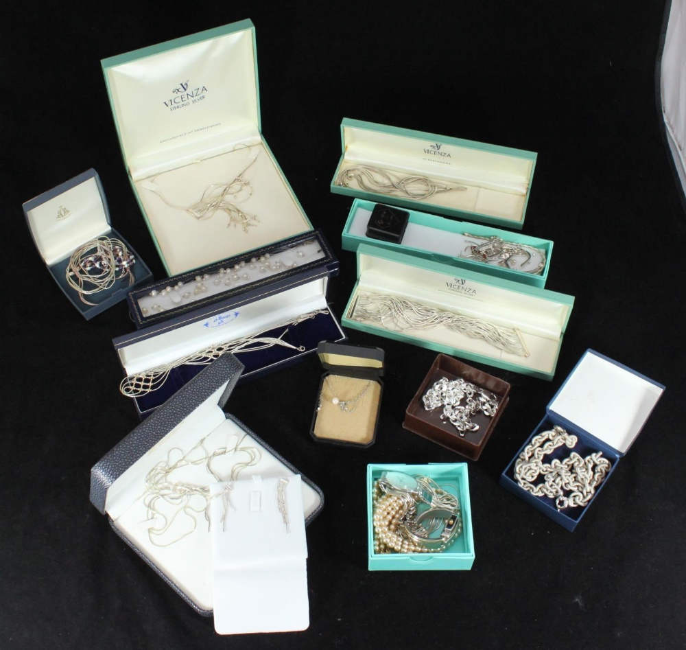 Lot 294 - Rowans Appeal - A quantity of costume and silver jewellery including a Swatch Skin watch and a