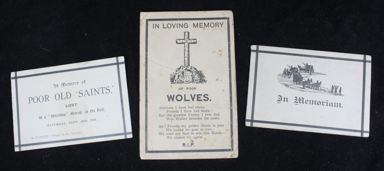 Lot 290 - Two novelty football 'In Memoriam' cards for Southampton v Portsmouth, September 10th 1910