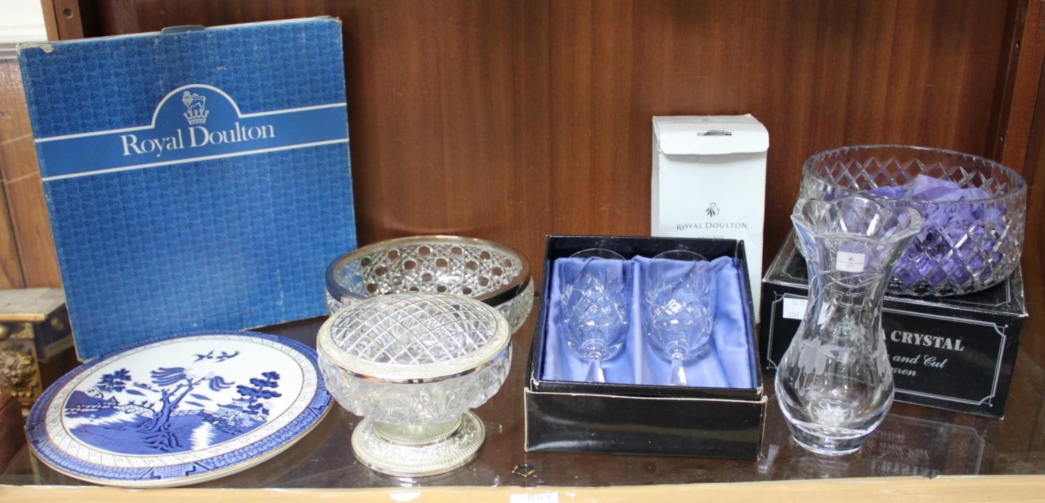 Lot 57 - A Bohemia Crystal fruit bowl and pair of wine glasses, together with a Royal Doulton etched vase,