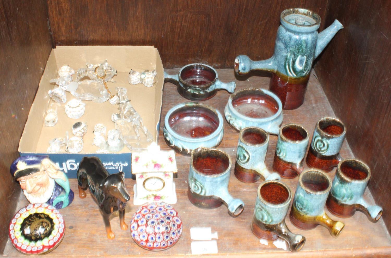 Lot 36 - SECTION 36. A Royal Albert 'Old Country Roses' small clock, Doulton small character jug 'Old