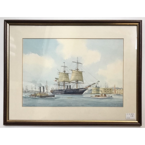 Lot 419 - Mervyn Pearson (b1934,) HMS Warrior leaving Portsmouth Harbour with a paddle steamer and other steam