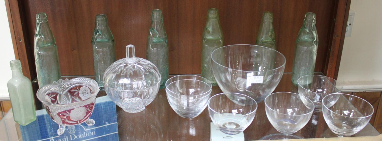 Lot 60 - Seven various green glass bottles including Hartridge & Sons, together with a dessert serving set of