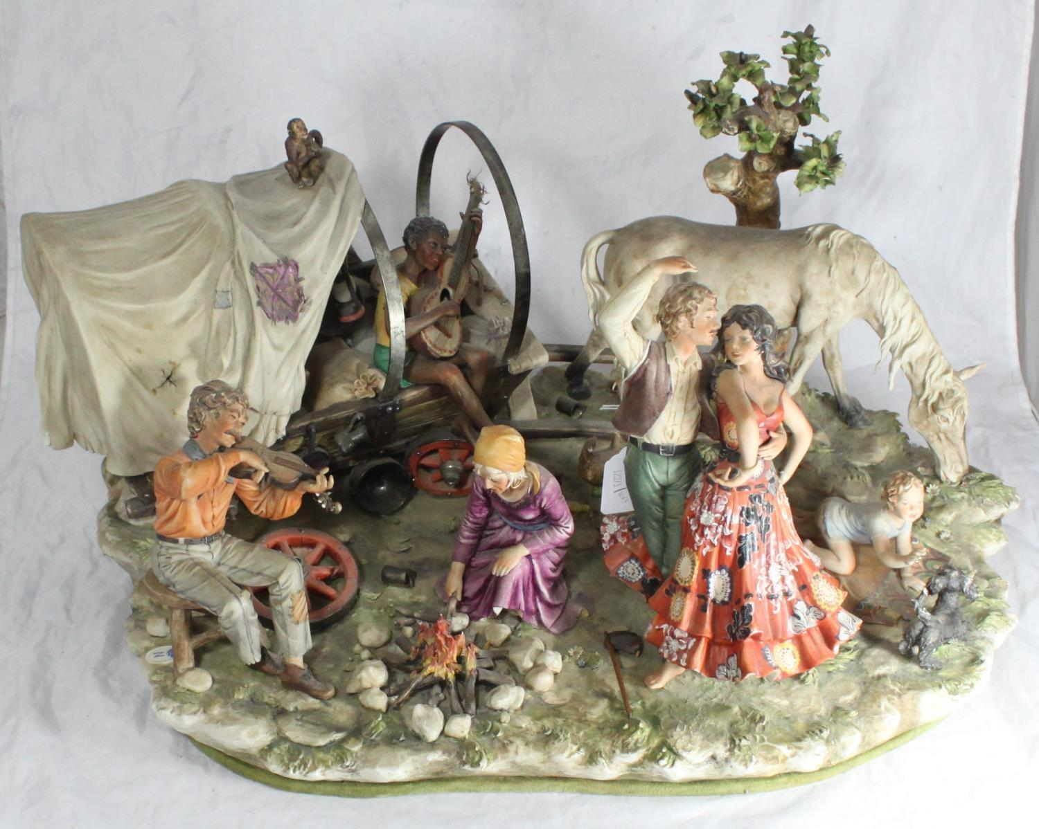 Lot 49 - A large Capodimonte figure-group entitled 'Gypsy Encampment' by Sandro Maggioni, modelled with