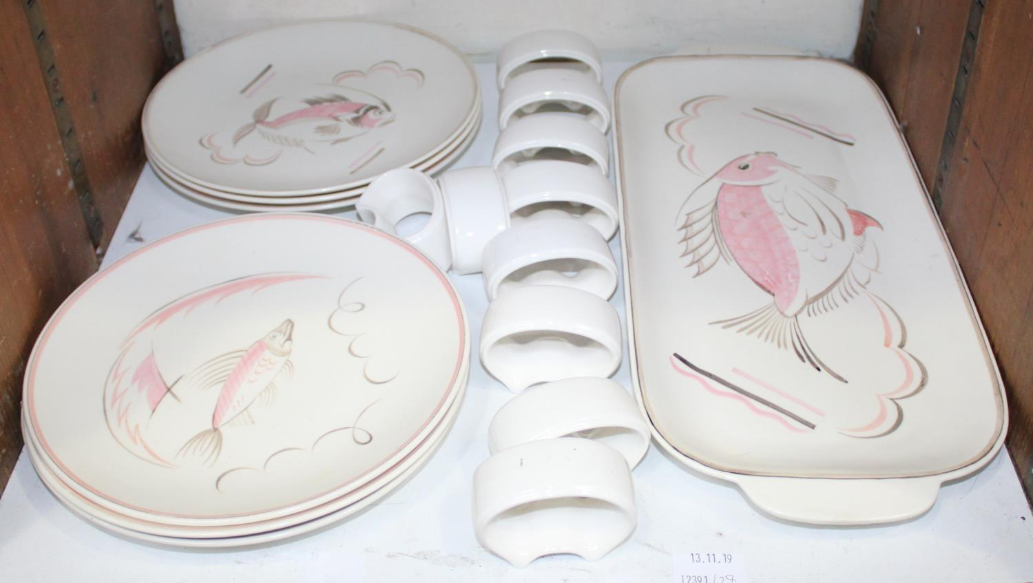 Lot 28 - WITHDRAWN: SECTION 28. A circa 1950s Poole pottery set of six plates decorated with abstract fish