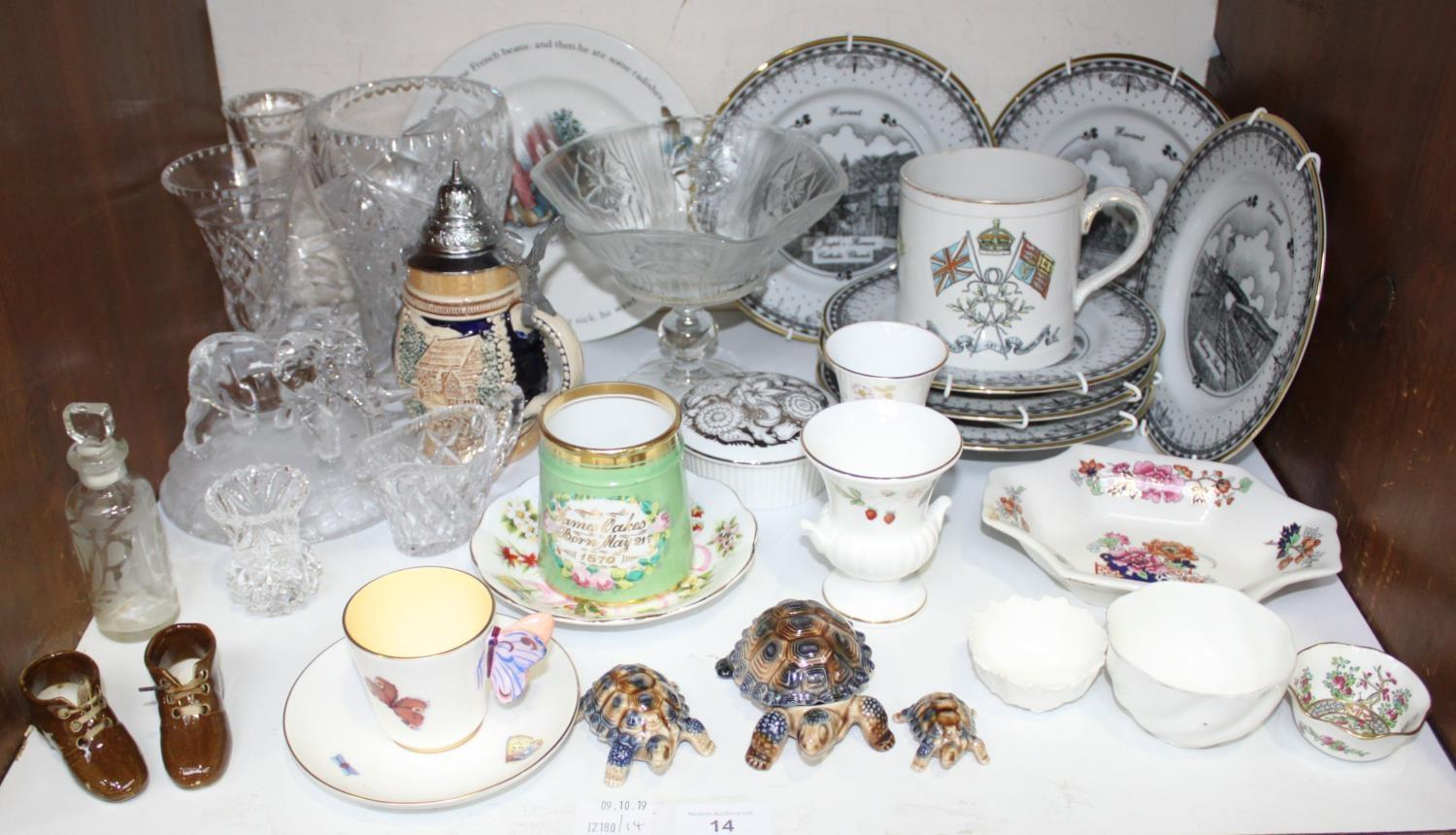 Lot 14 - SECTION 14. A quantity of glass and ceramics including a Stuart vase, Royal Doulton vase, elephant