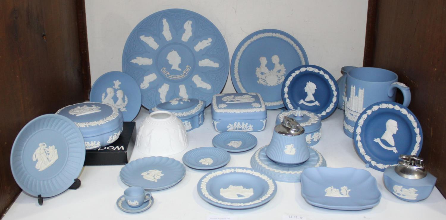 Lot 9 - SECTION 9. A quantity of Wedgwood Jasperware including trinket boxes, plates, pin dishes,
