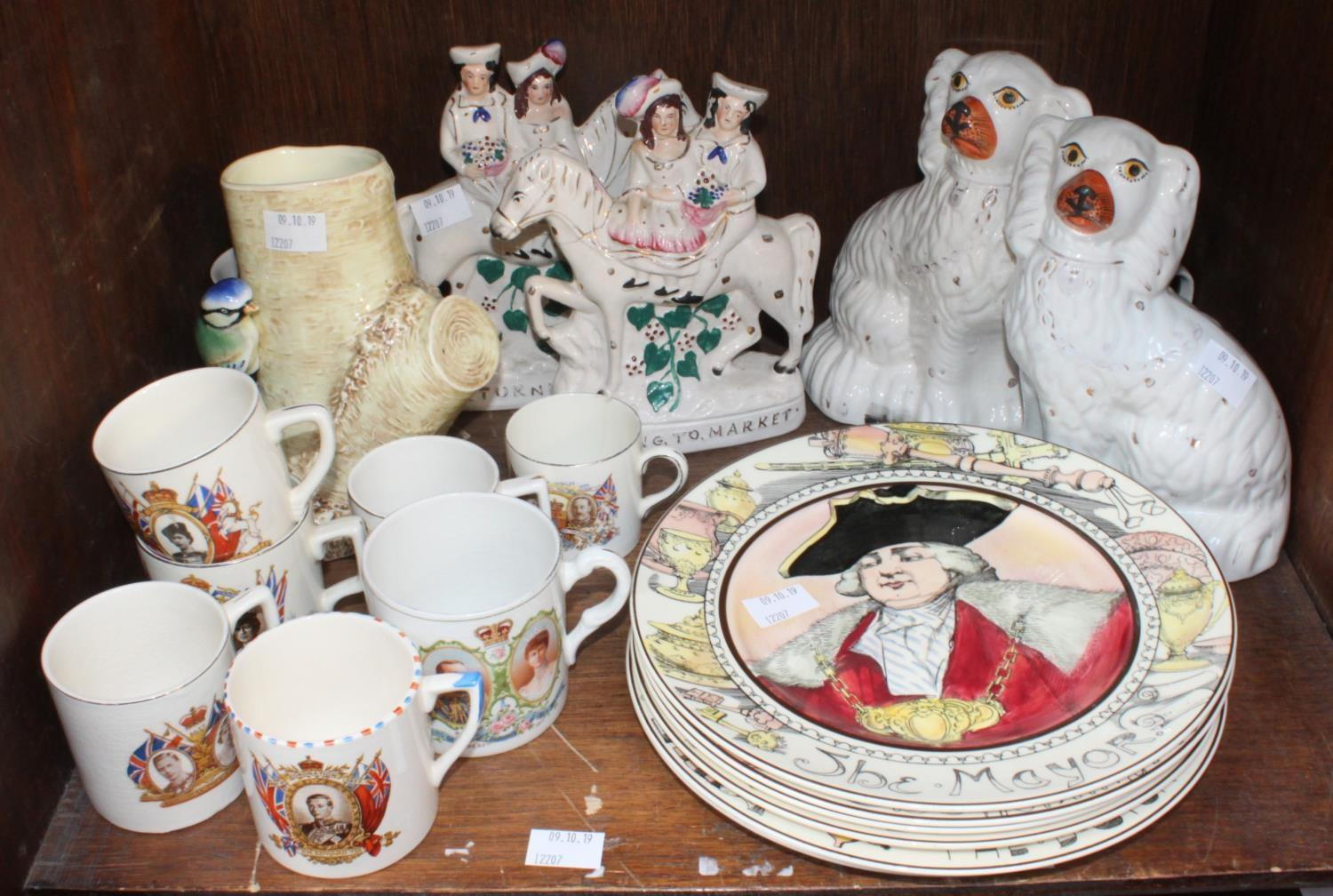 Lot 37 - SECTION 37. A pair of Staffordshire pottery seated Spaniels and a pair of figures, together with six